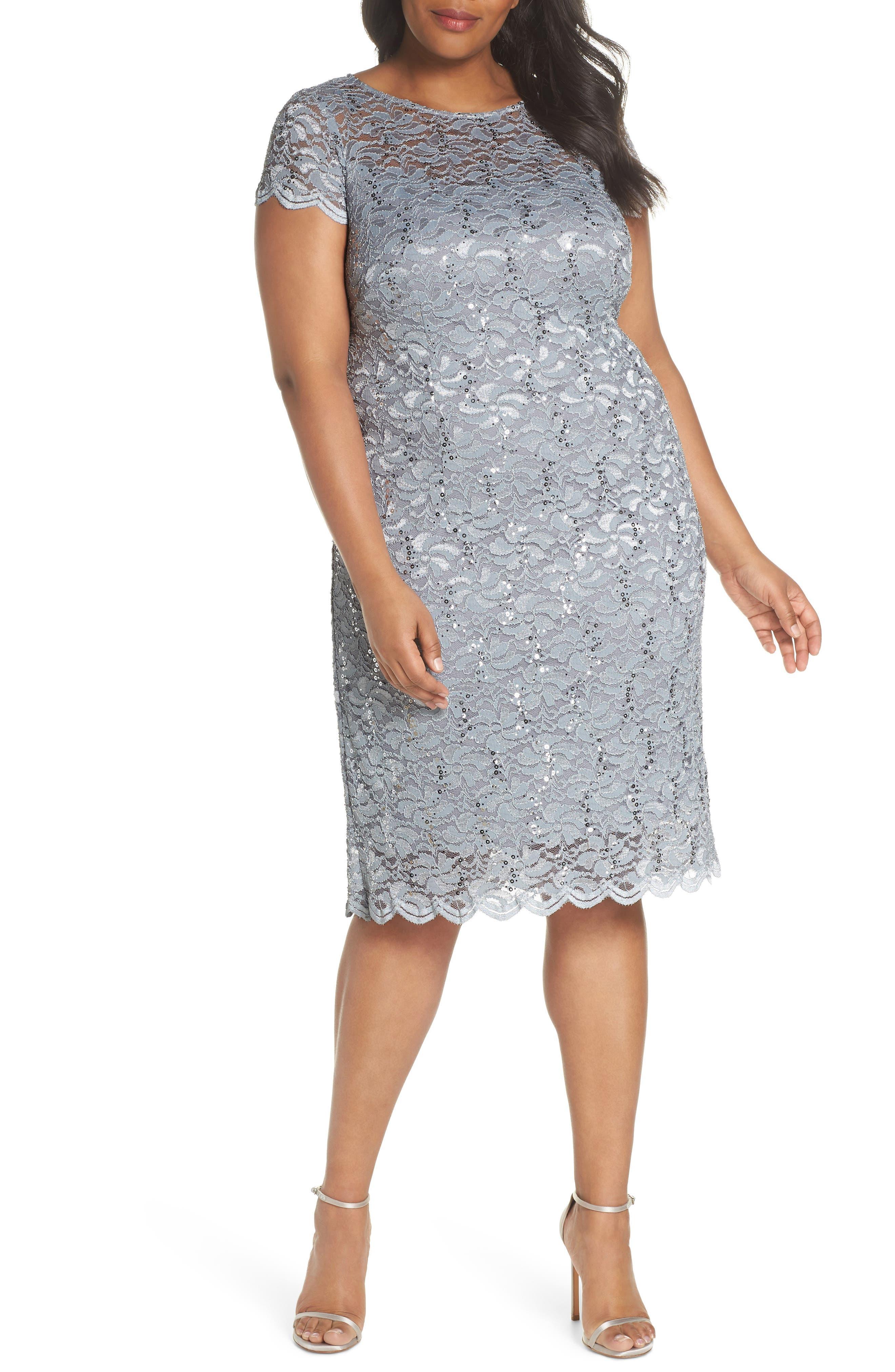 Sequin Lace Sheath Dress,                             Main thumbnail 1, color,                             Platinum