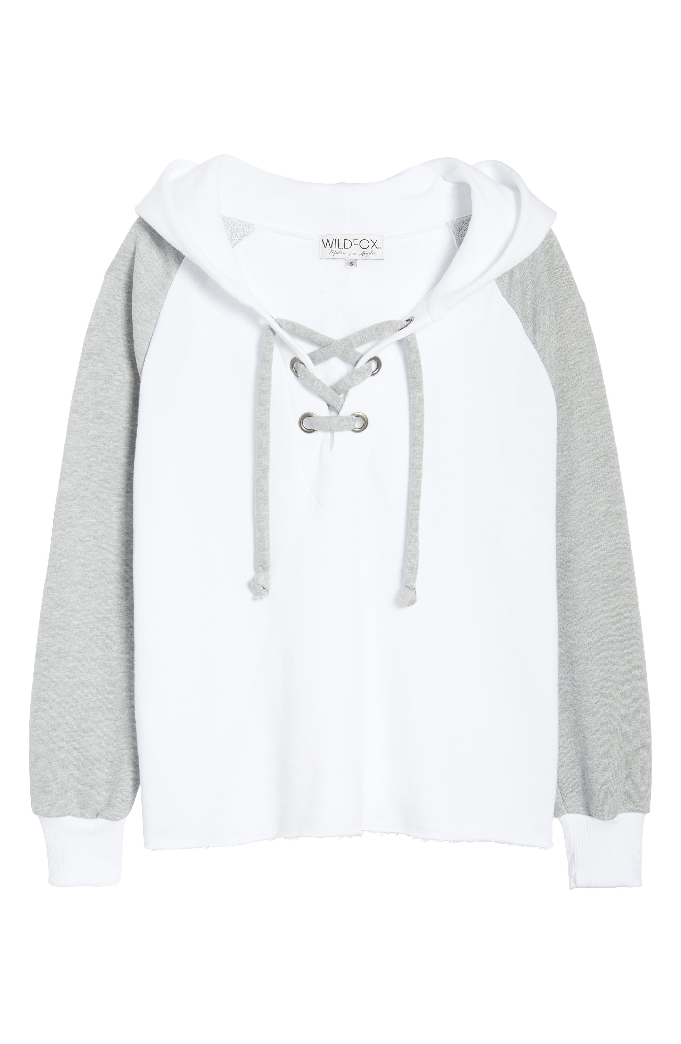 Contrast Hutton Hoodie,                             Alternate thumbnail 6, color,                             Clean White/ Heather