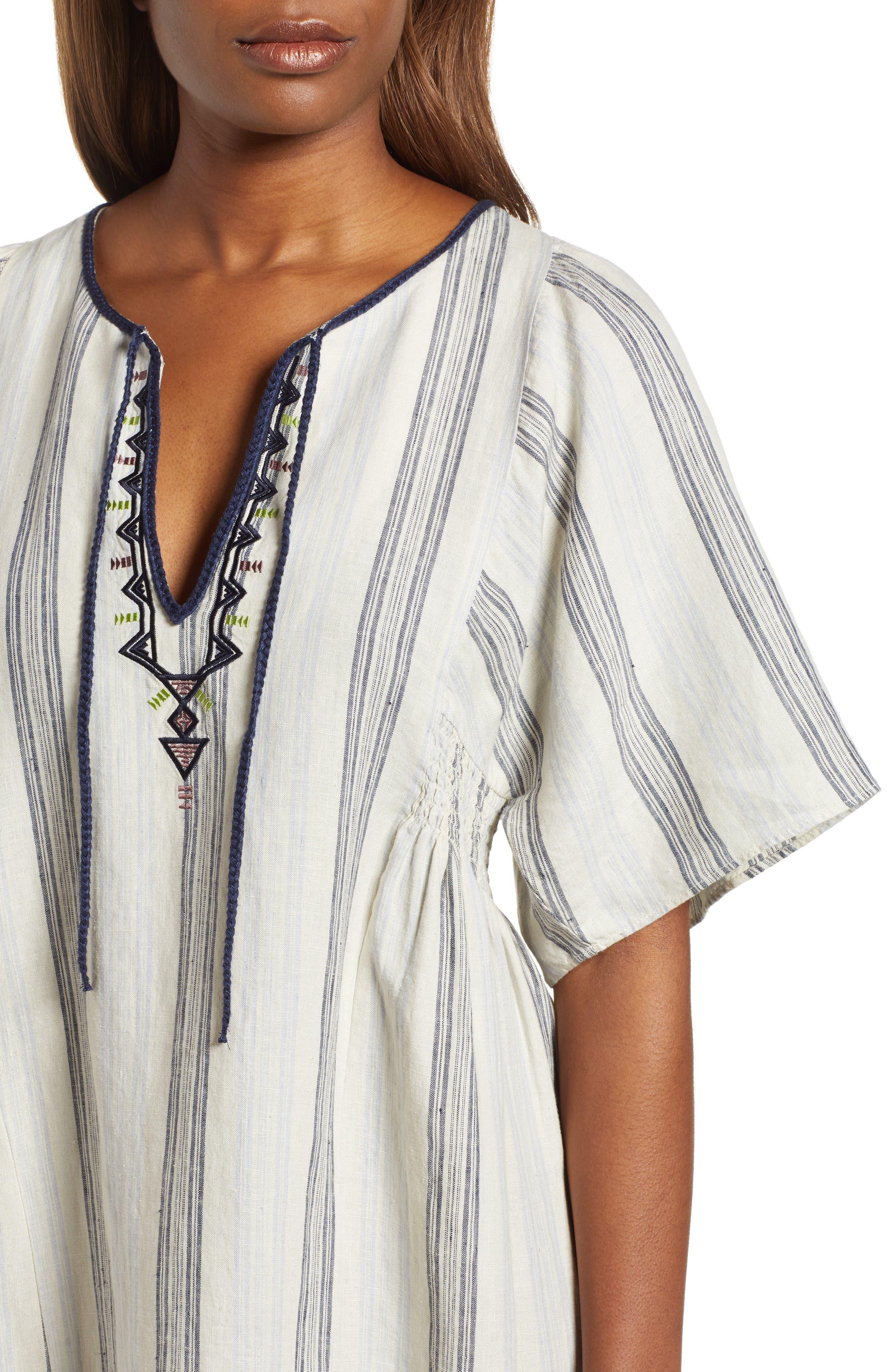 Stripe Linen Keyhole Shift Dress,                             Alternate thumbnail 4, color,                             Beige Rainy Day Frankie Stripe