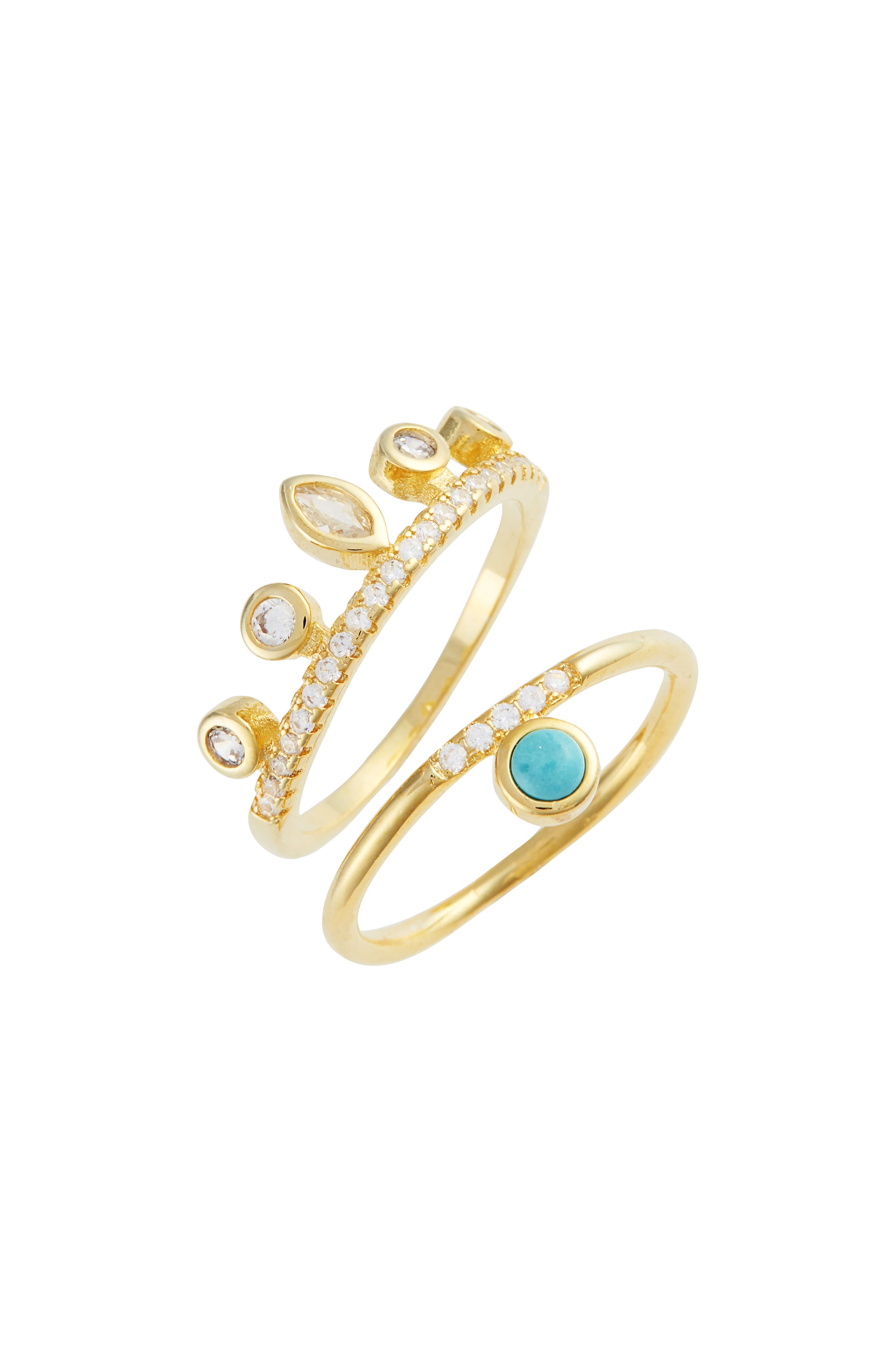 Jacinta Set of 2 Turquoise & Crystal Rings,                         Main,                         color, Gold