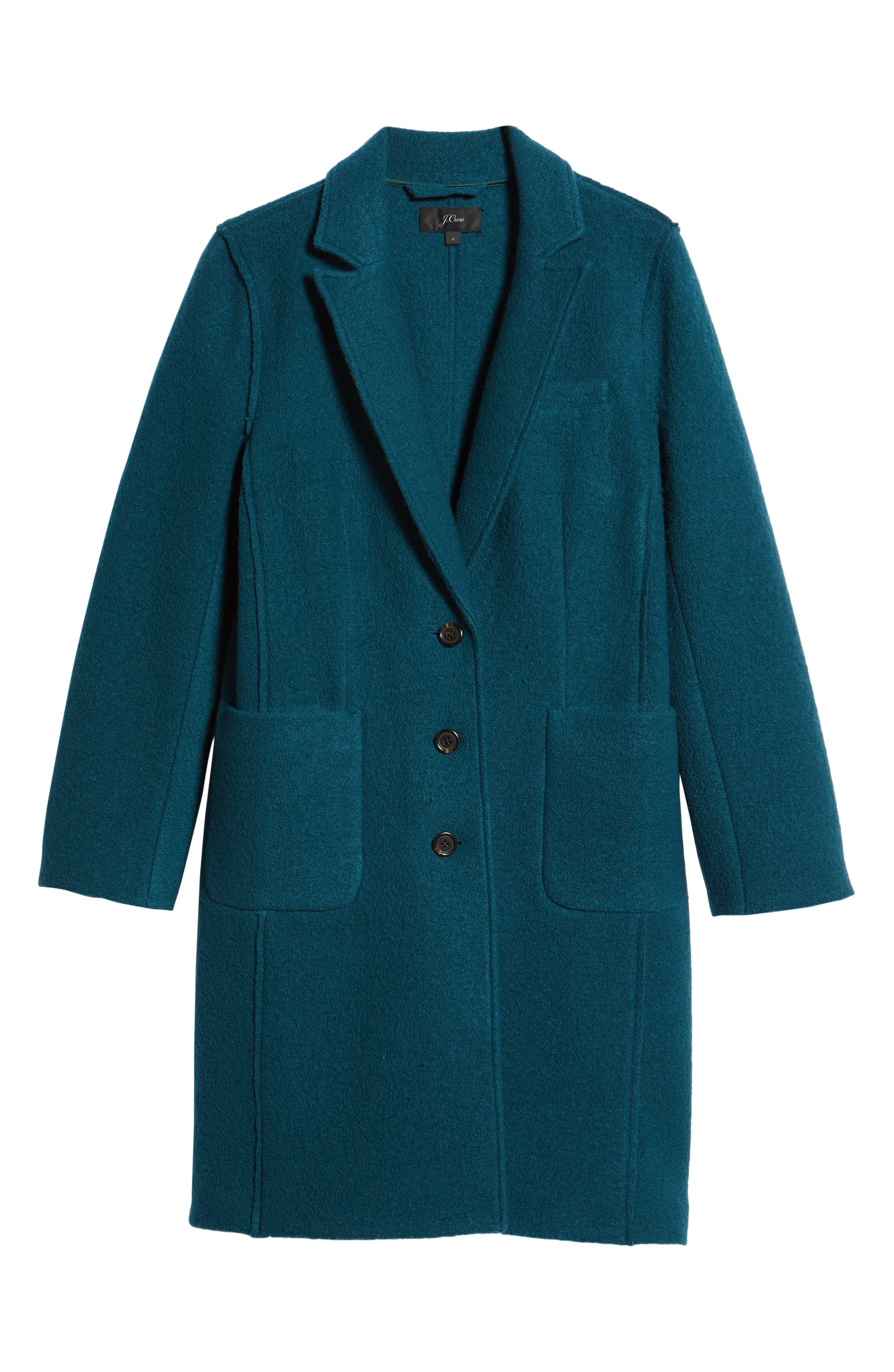 Olga Boiled Wool Topcoat,                             Alternate thumbnail 7, color,                             Winter Pine