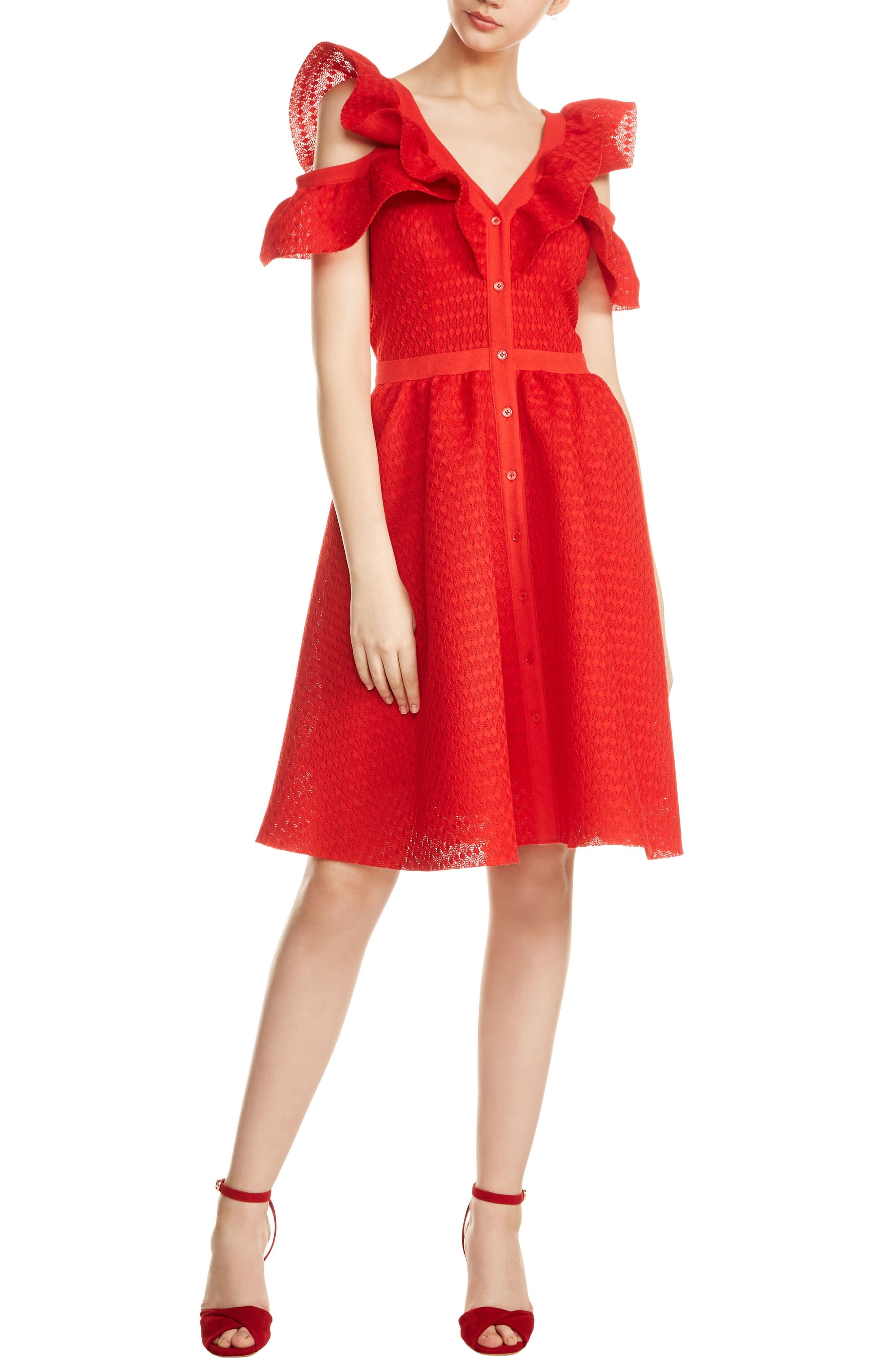 maje Reglissebleu Cold Shoulder Fit & Flare Dress