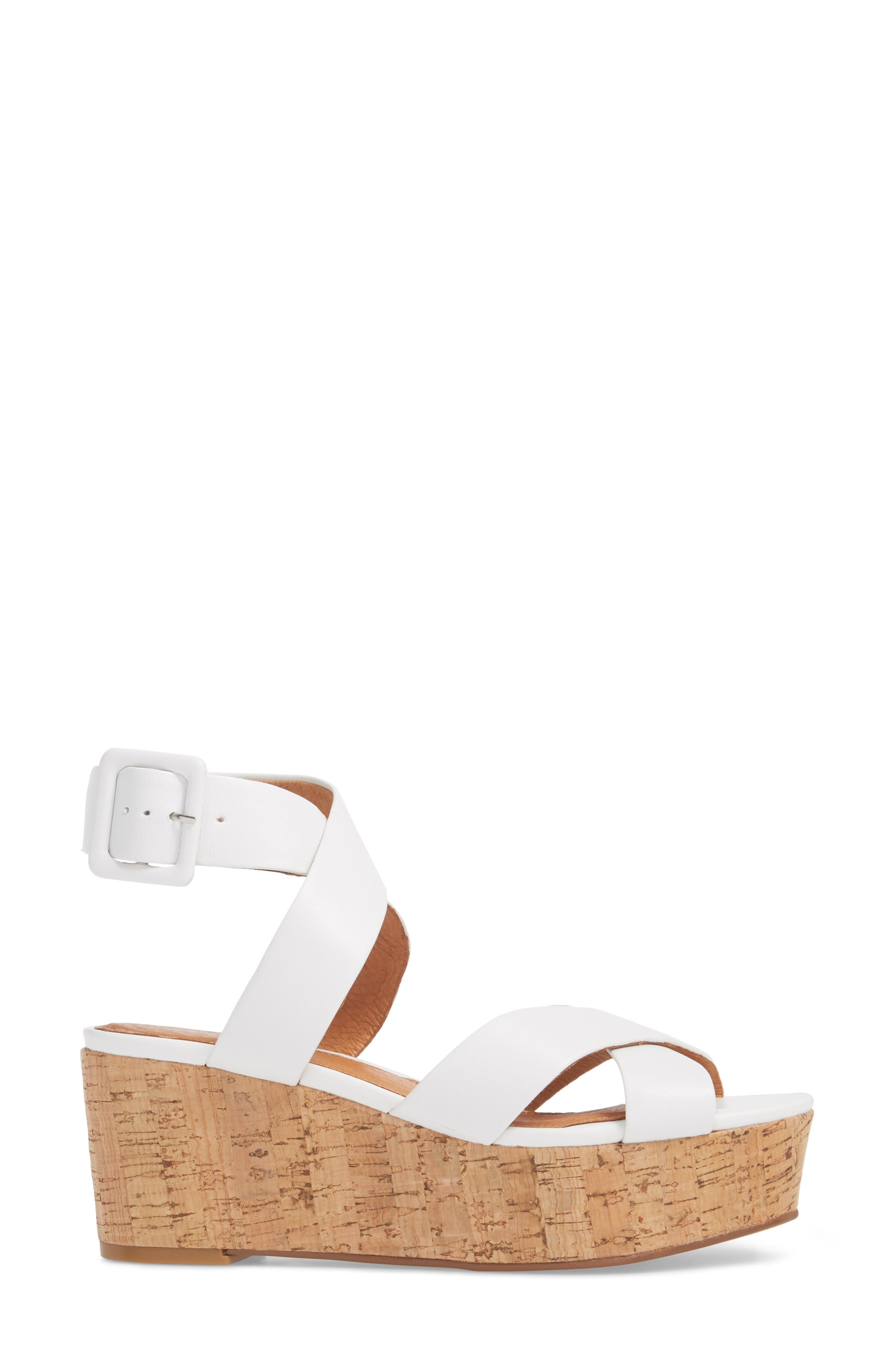 Evie Platform Wedge Sandal,                             Alternate thumbnail 3, color,                             White Leather