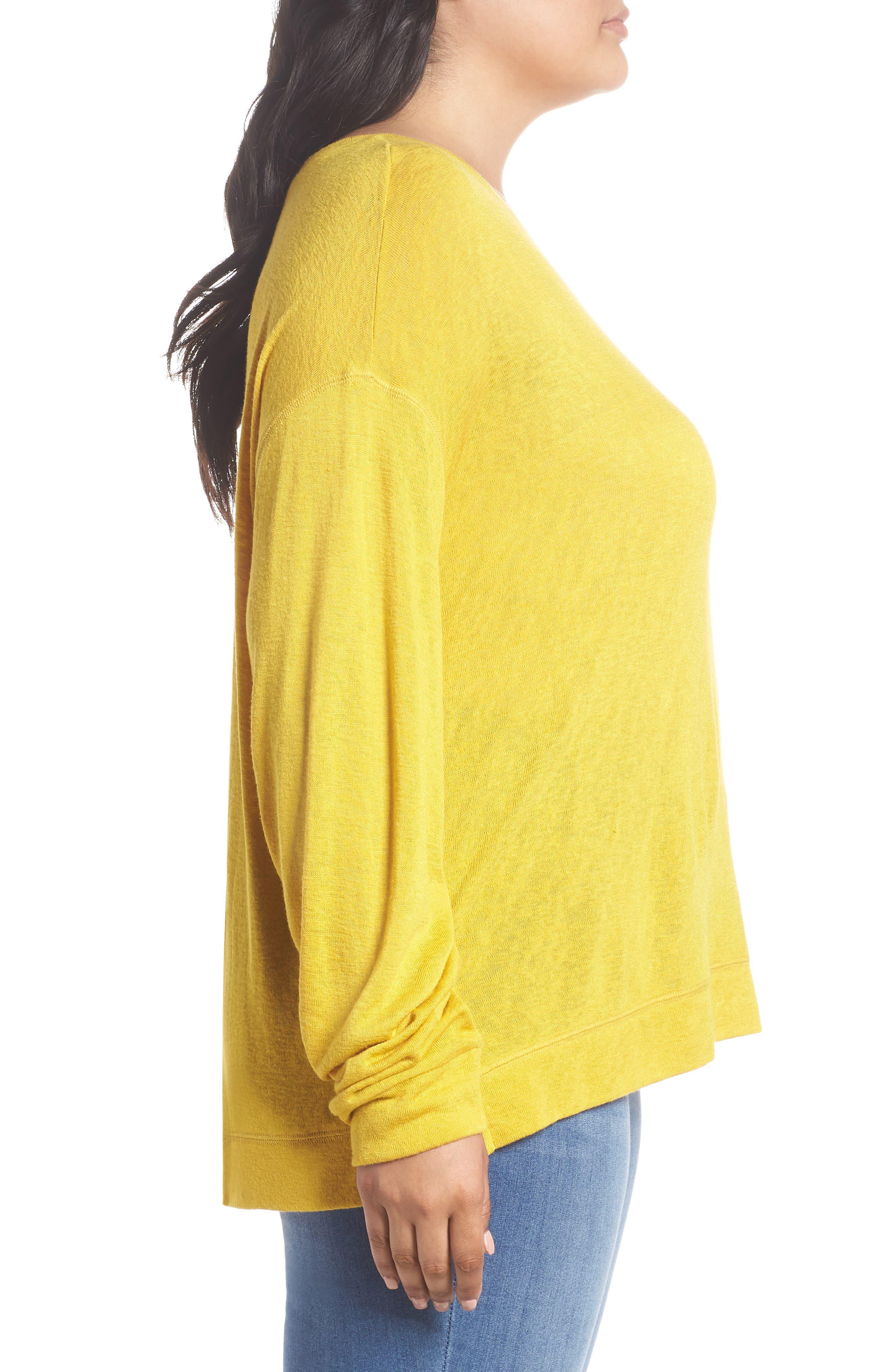 Tuck Sleeve Sweatshirt,                             Alternate thumbnail 3, color,                             Yellow Tea