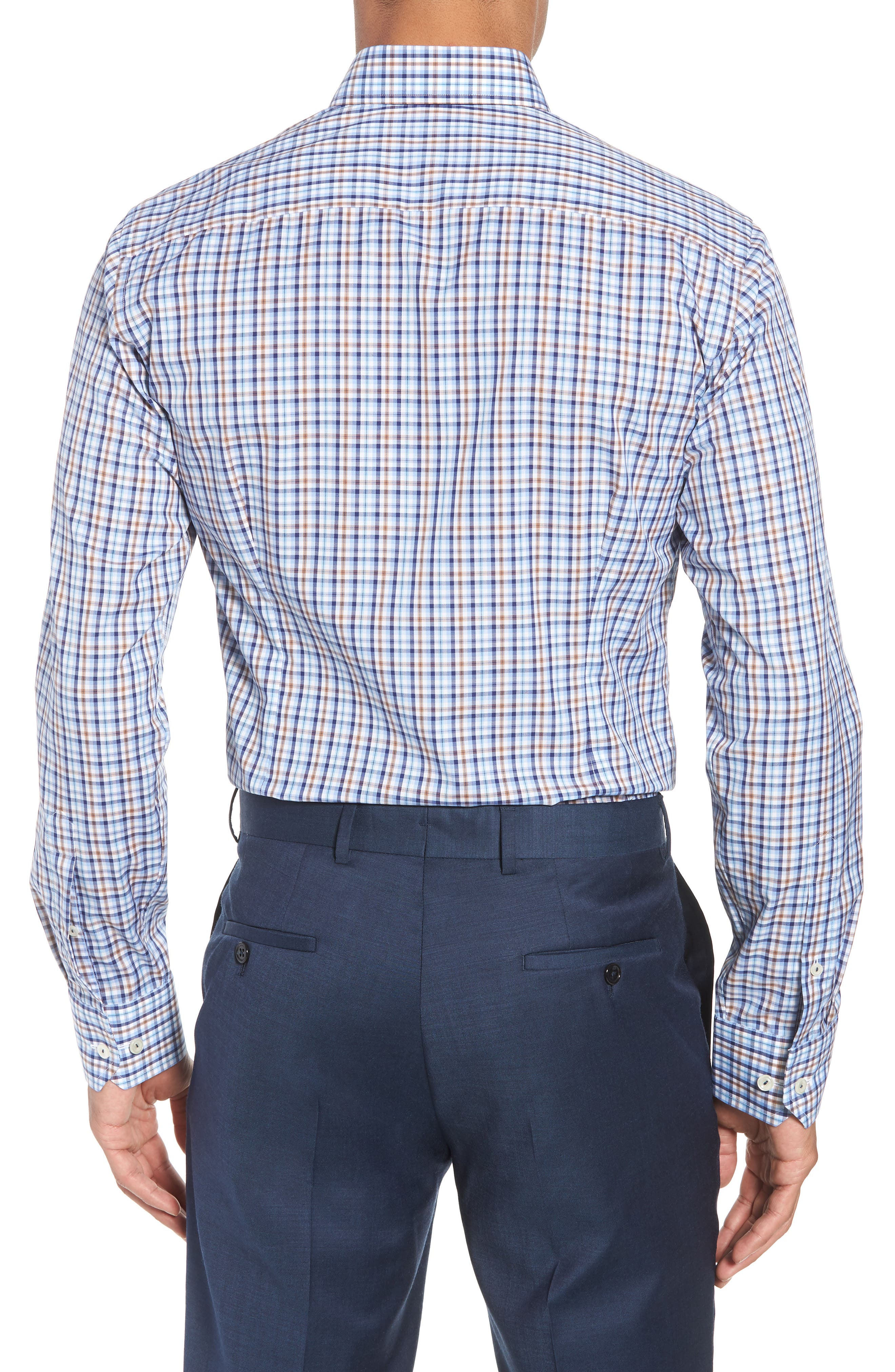 Contemporary Fit Plaid Dress Shirt,                             Alternate thumbnail 3, color,                             Blue