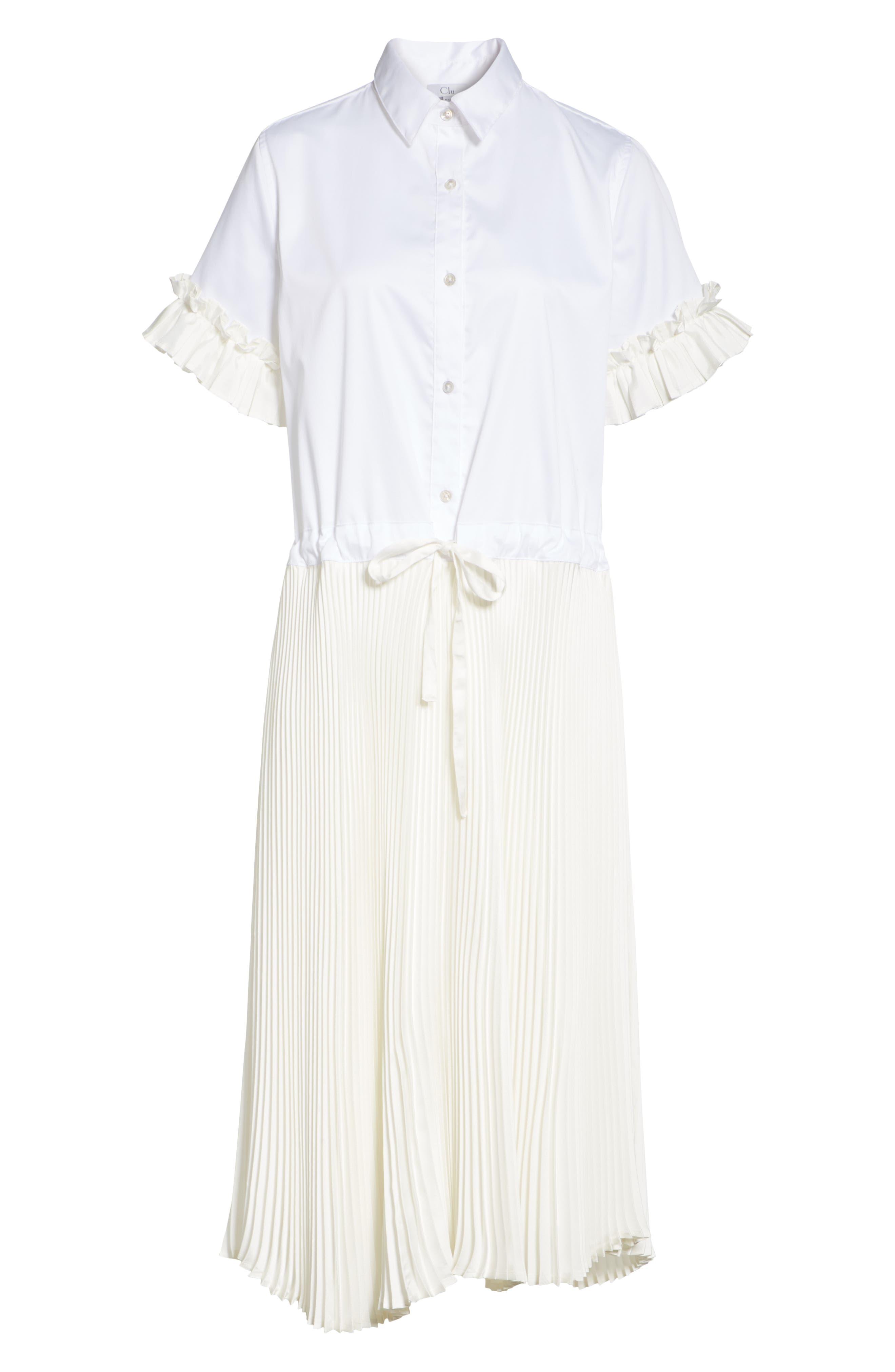 Pleat Midi Shirtdress,                             Alternate thumbnail 6, color,                             White