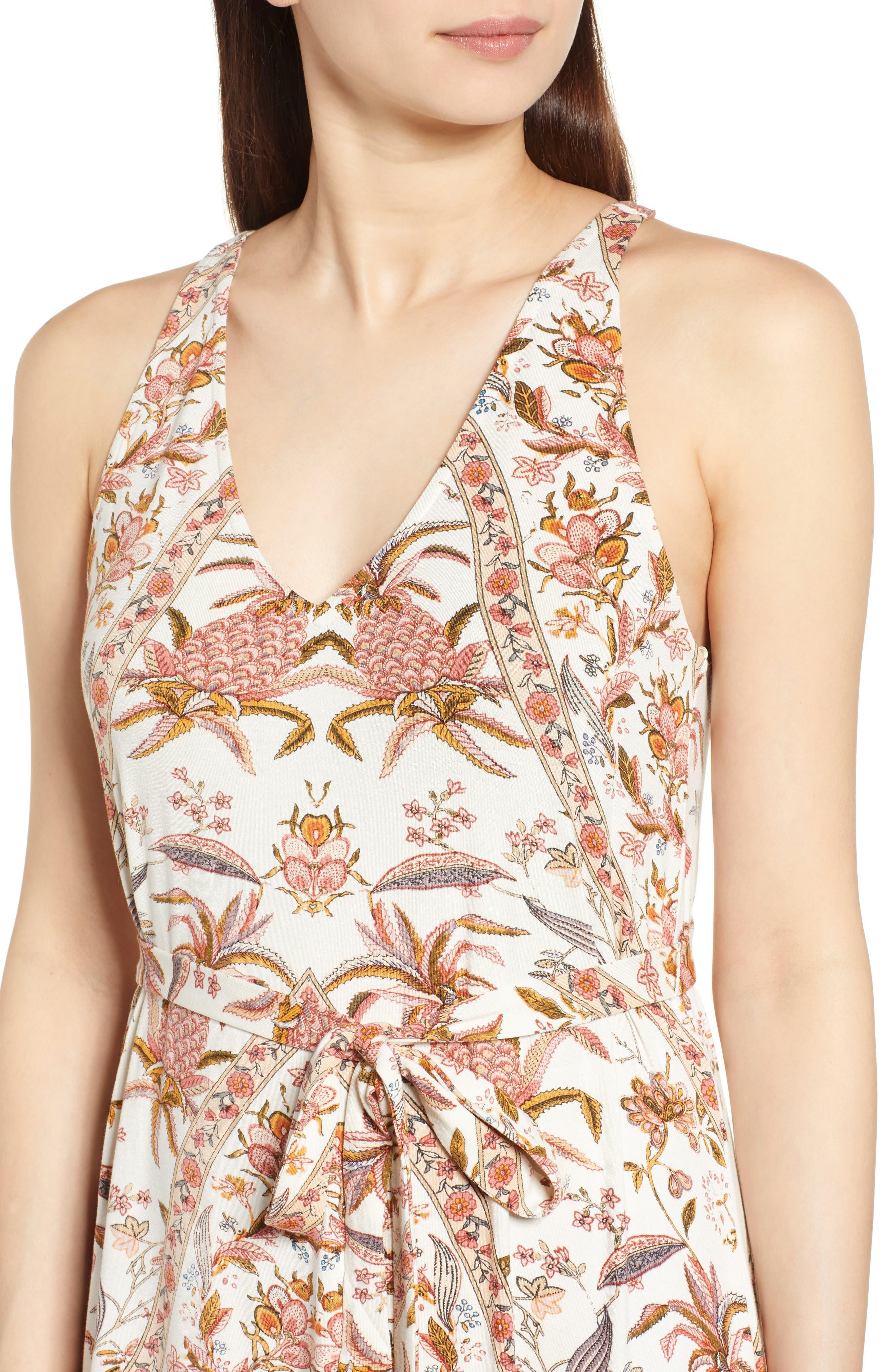 V-Neck Print Maxi Dress,                             Alternate thumbnail 4, color,                             Pink Multi