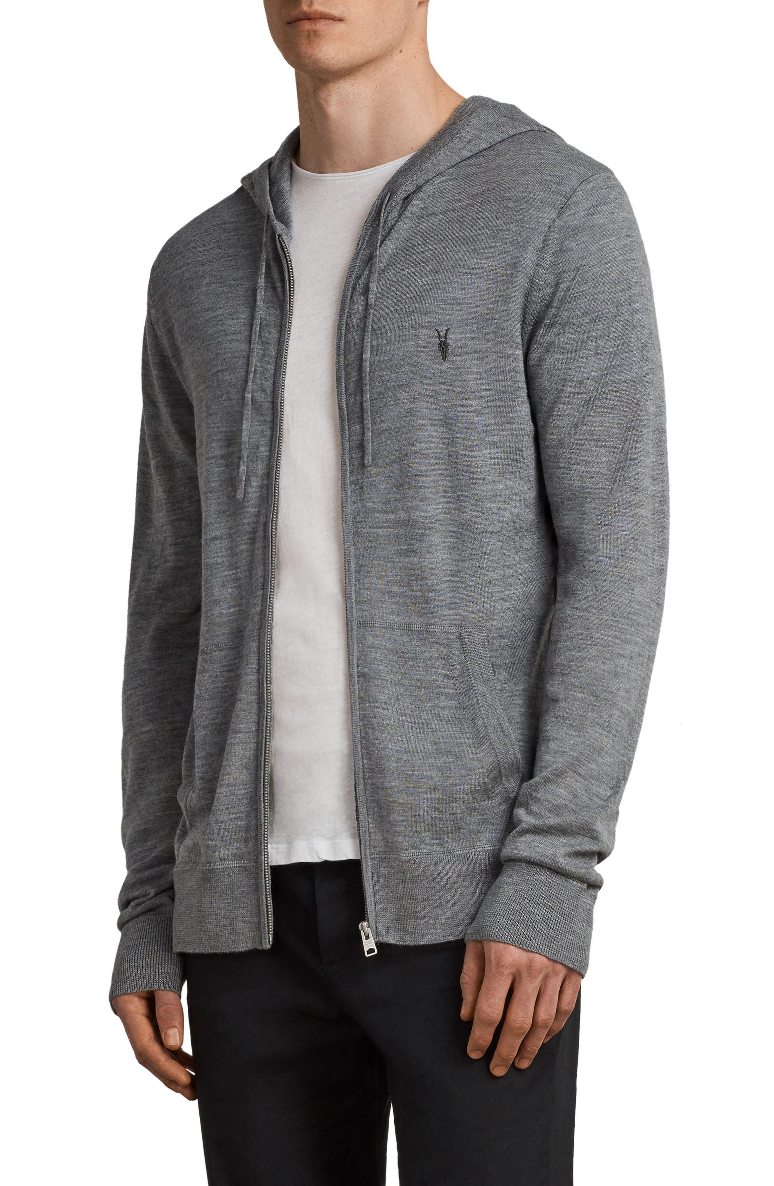 Mode Slim Fit Merino Wool Zip Hoodie,                             Alternate thumbnail 3, color,                             Grey Marl