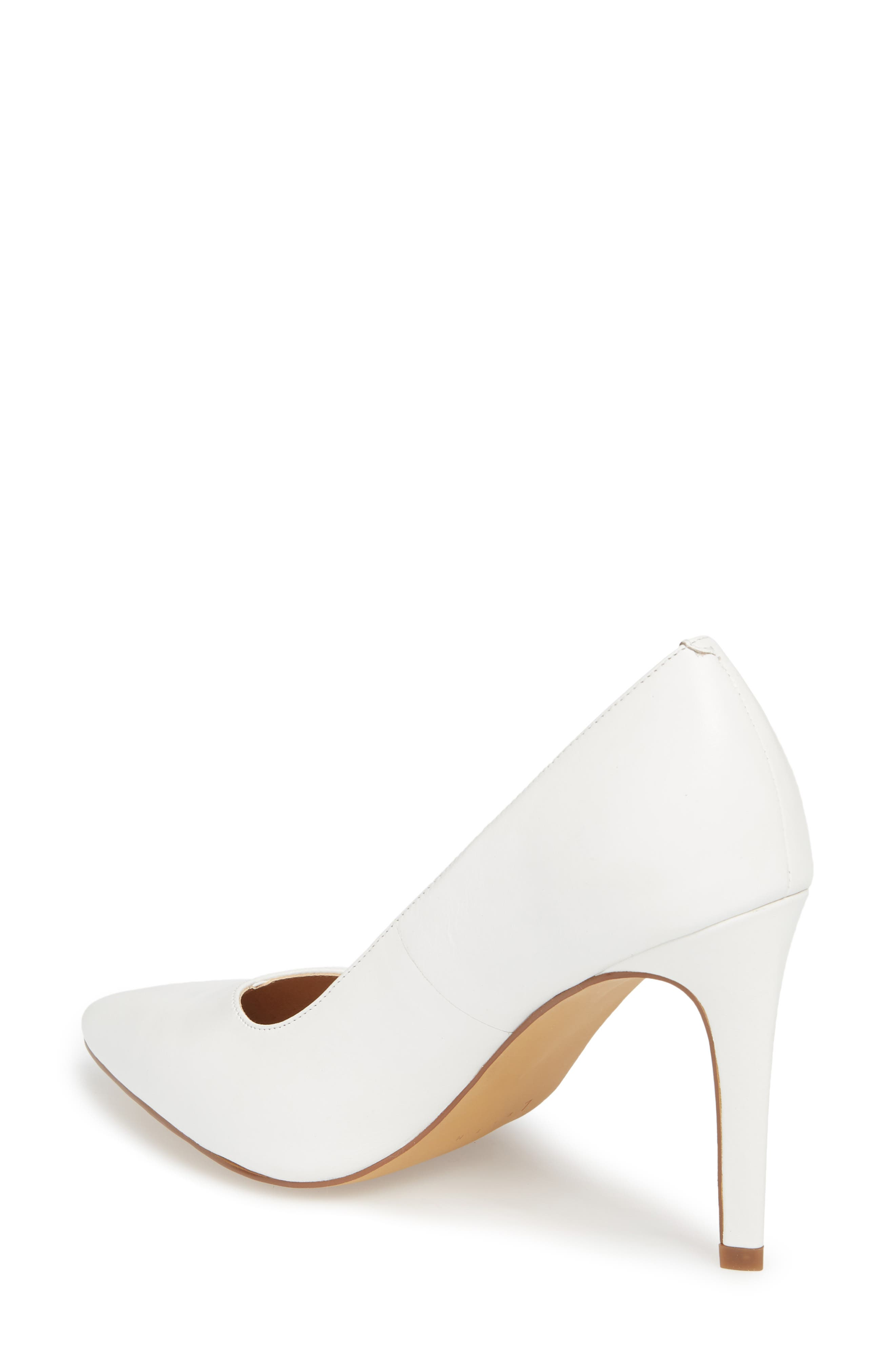 Palma Pointy Toe Pump,                             Alternate thumbnail 2, color,                             White Leather