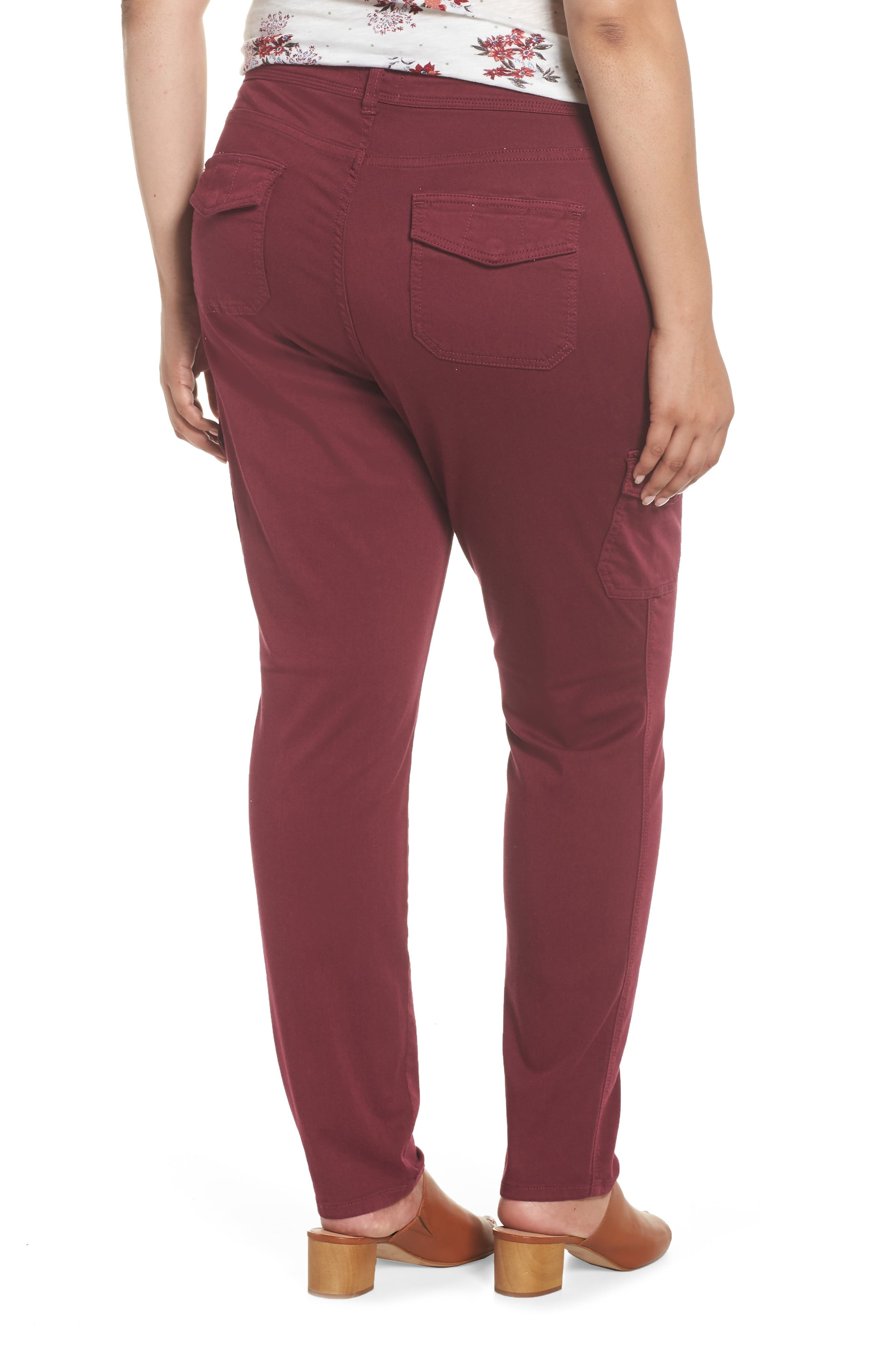 Stretch Twill Utility Pants,                             Alternate thumbnail 2, color,                             Burgundy