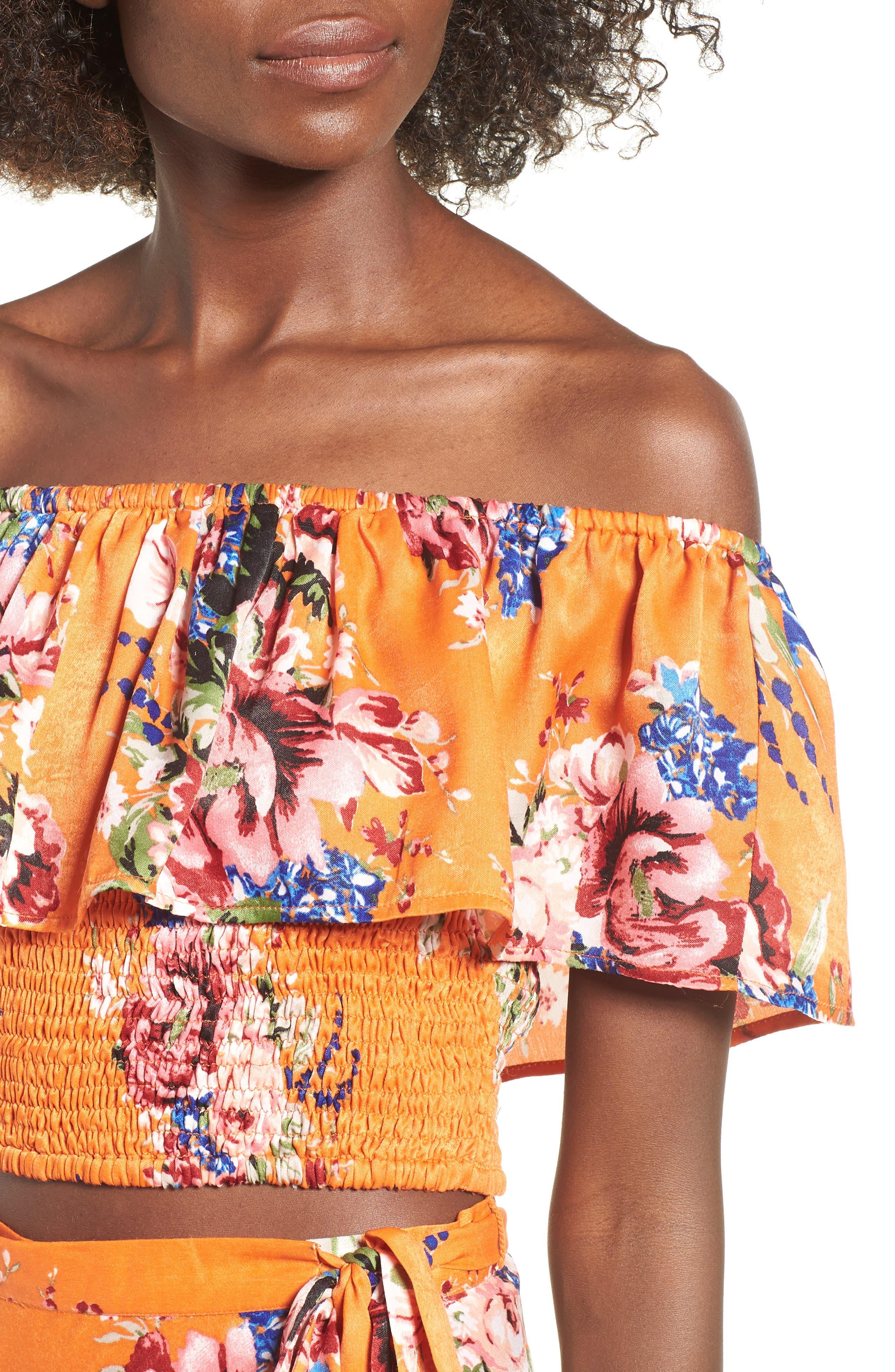 Lulu Off the Shoulder Crop Top,                             Alternate thumbnail 4, color,                             Orange Rose