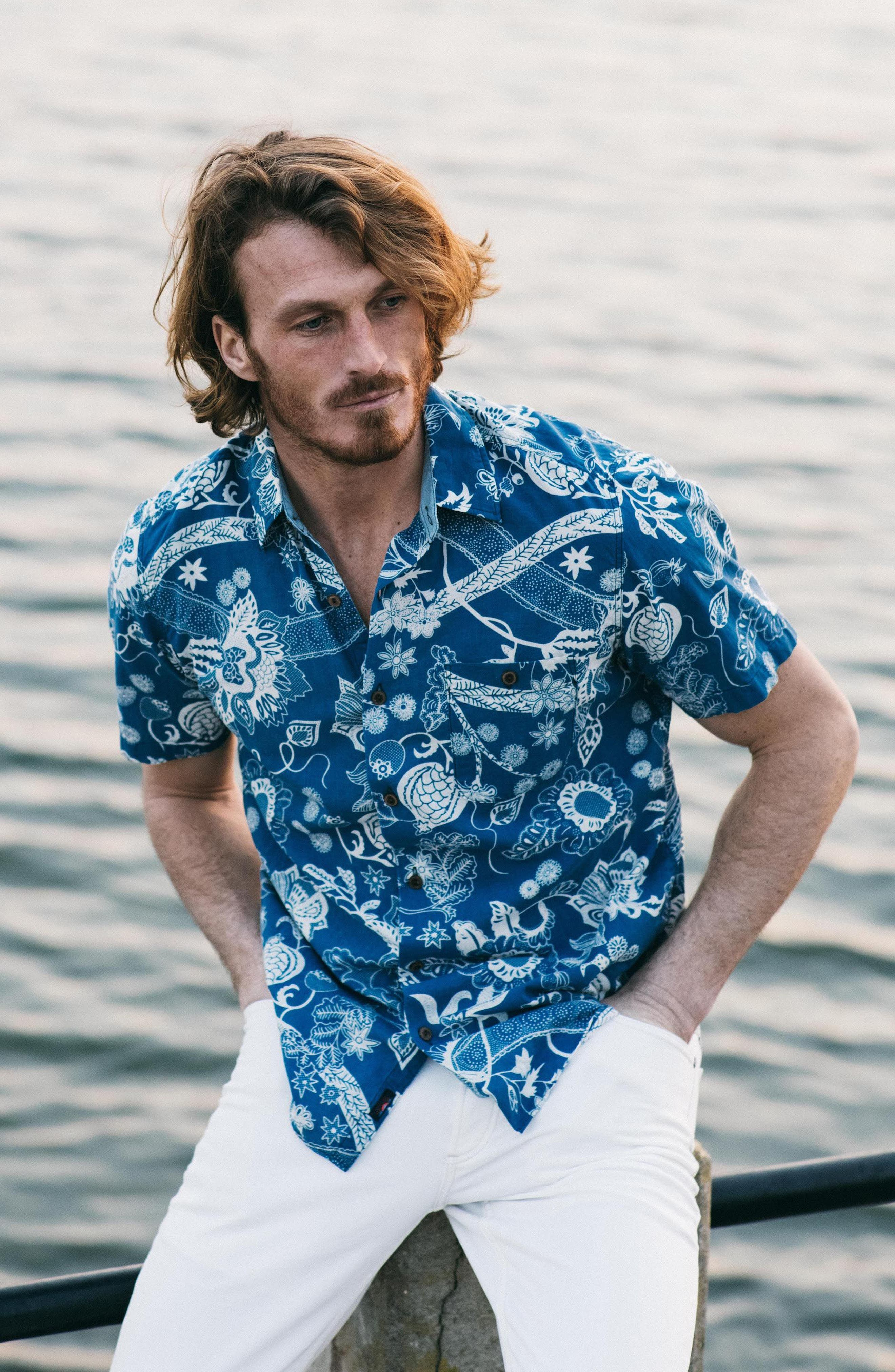 Coast Floral Sport Shirt,                             Alternate thumbnail 8, color,                             Kenji Floral