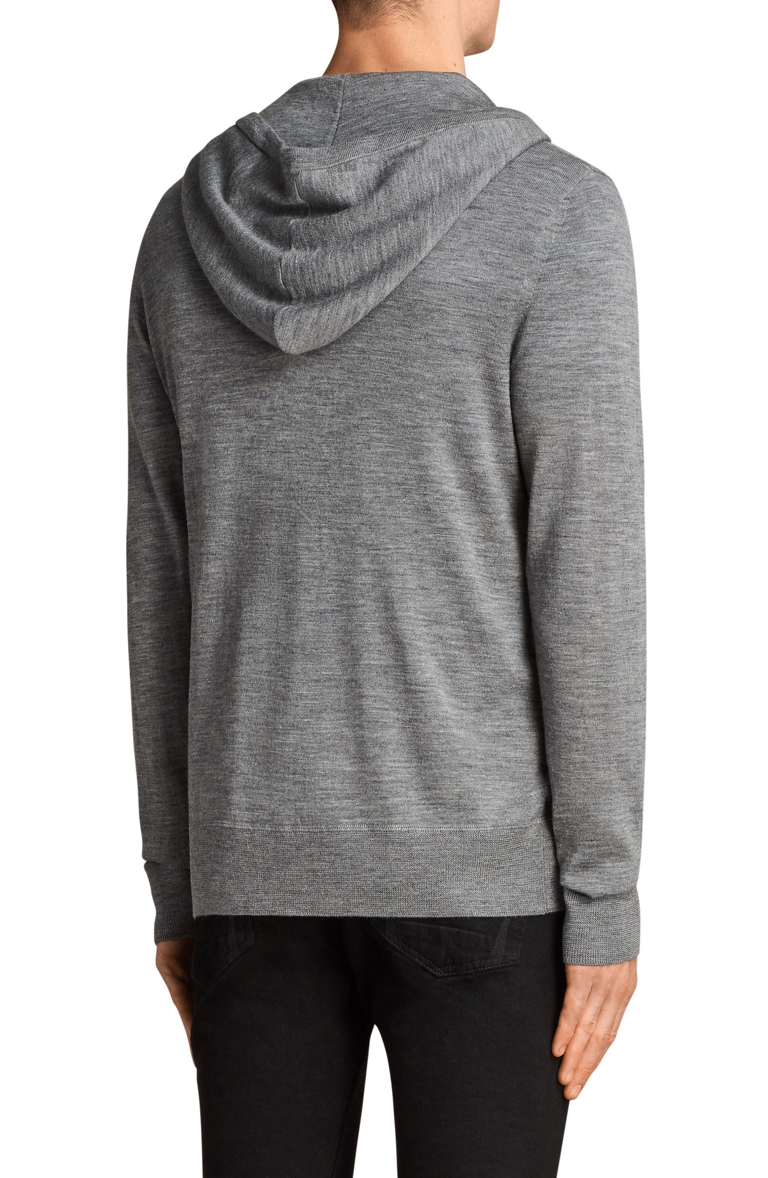 Mode Slim Fit Merino Wool Zip Hoodie,                             Alternate thumbnail 2, color,                             Grey Marl