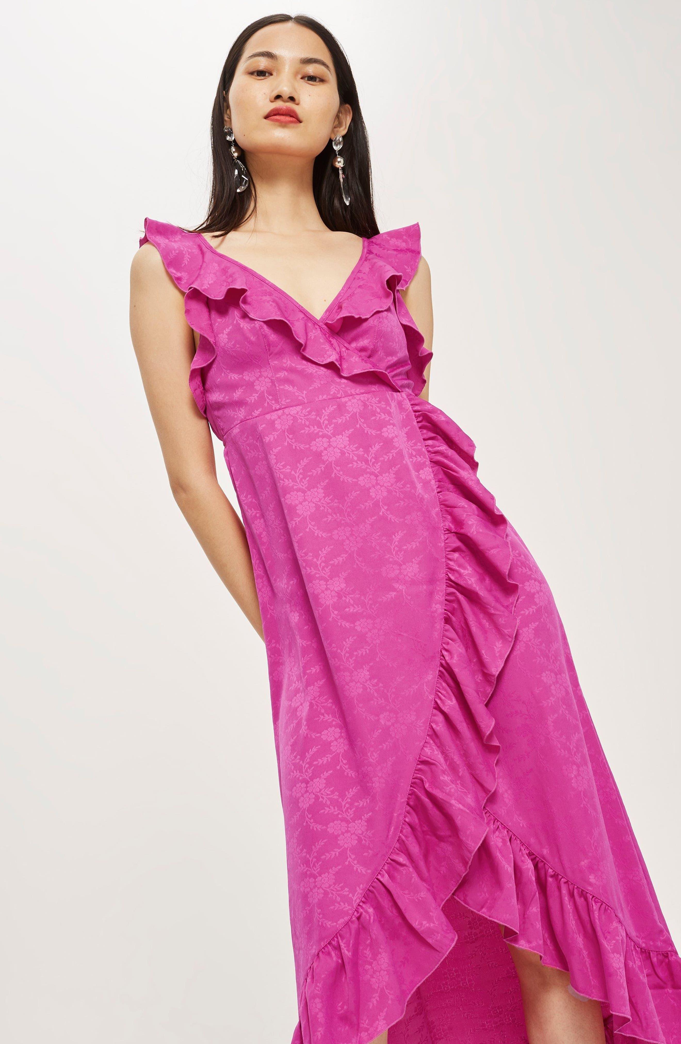 Jacquard Ruffle Faux Wrap Midi Dress,                             Alternate thumbnail 2, color,                             Pink