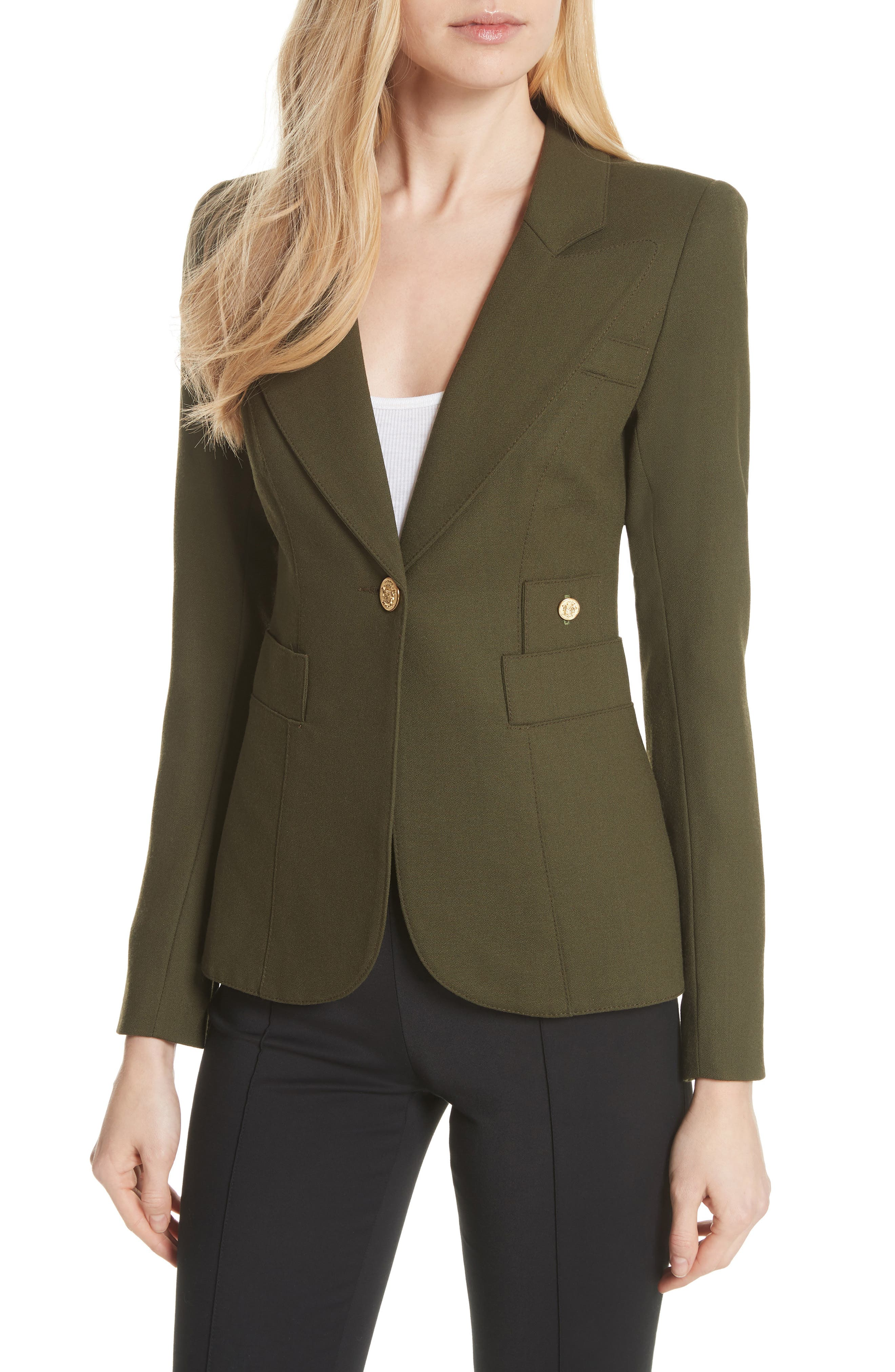 Classic Duchess Blazer,                         Main,                         color, Army