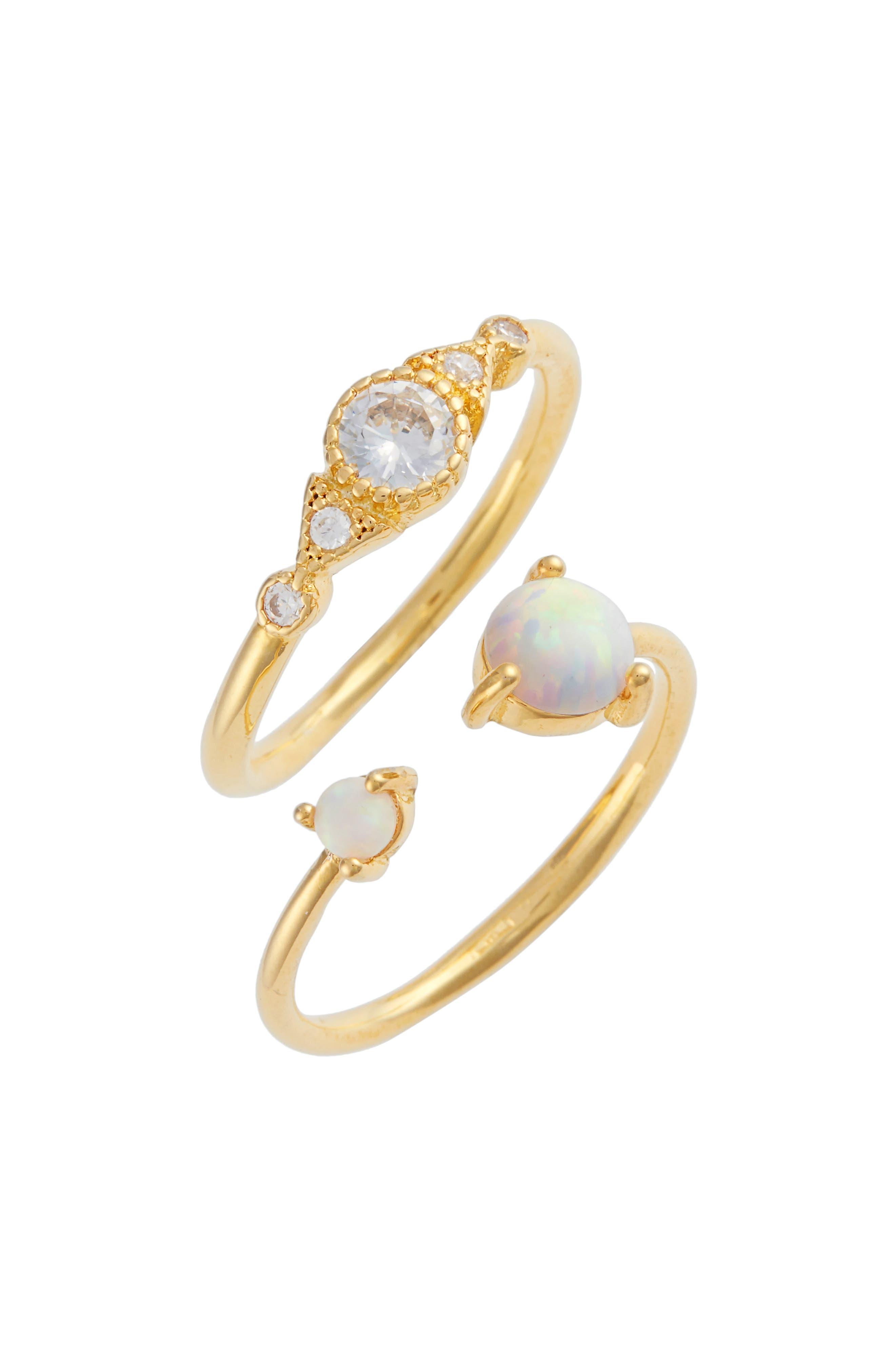 Lorah Set of 2 Fire Opal & Crystal Rings,                             Main thumbnail 1, color,                             Gold