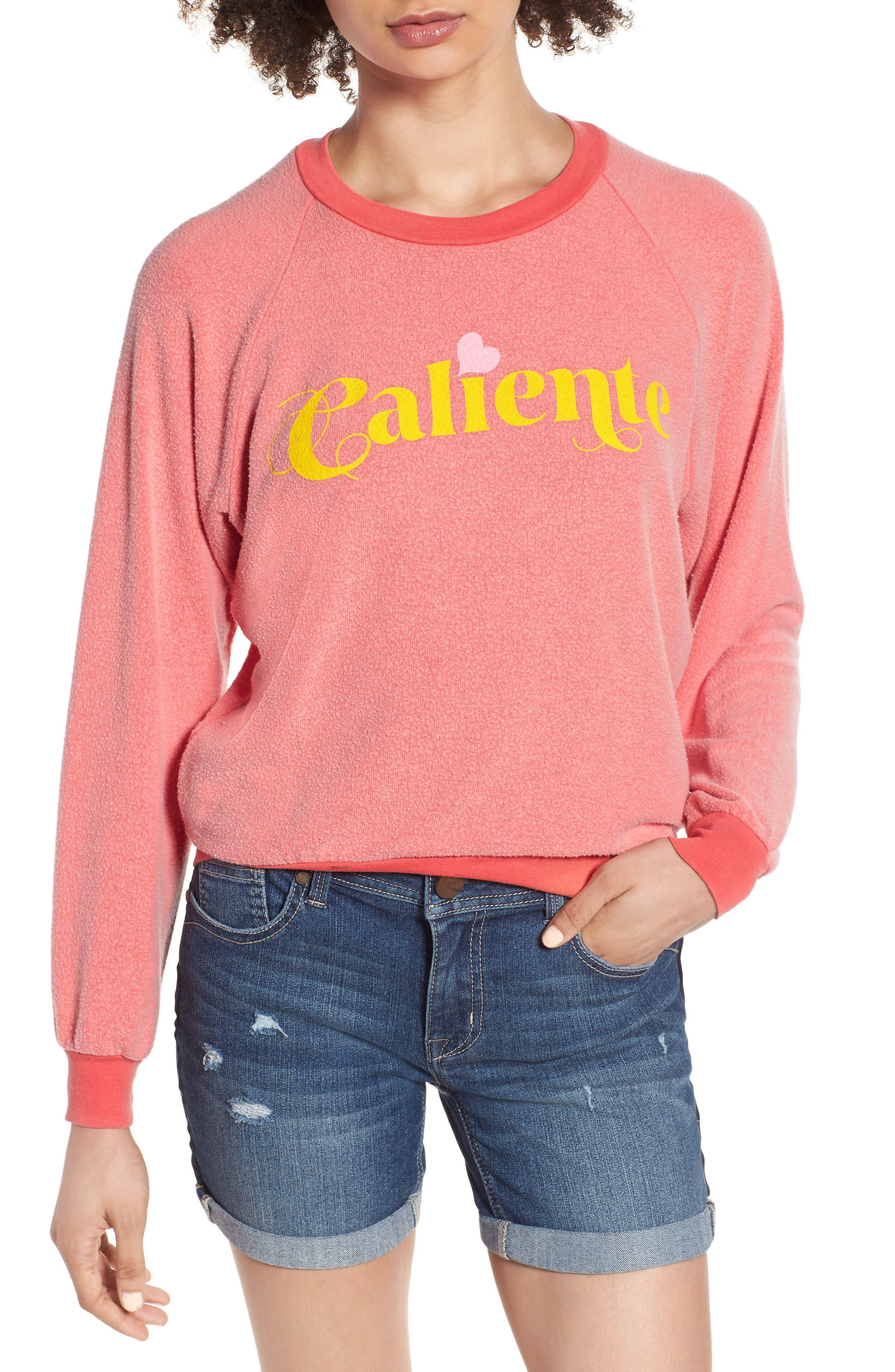 Caliente Junior Sweatshirt,                             Main thumbnail 1, color,                             Pigment Hot Lipstick