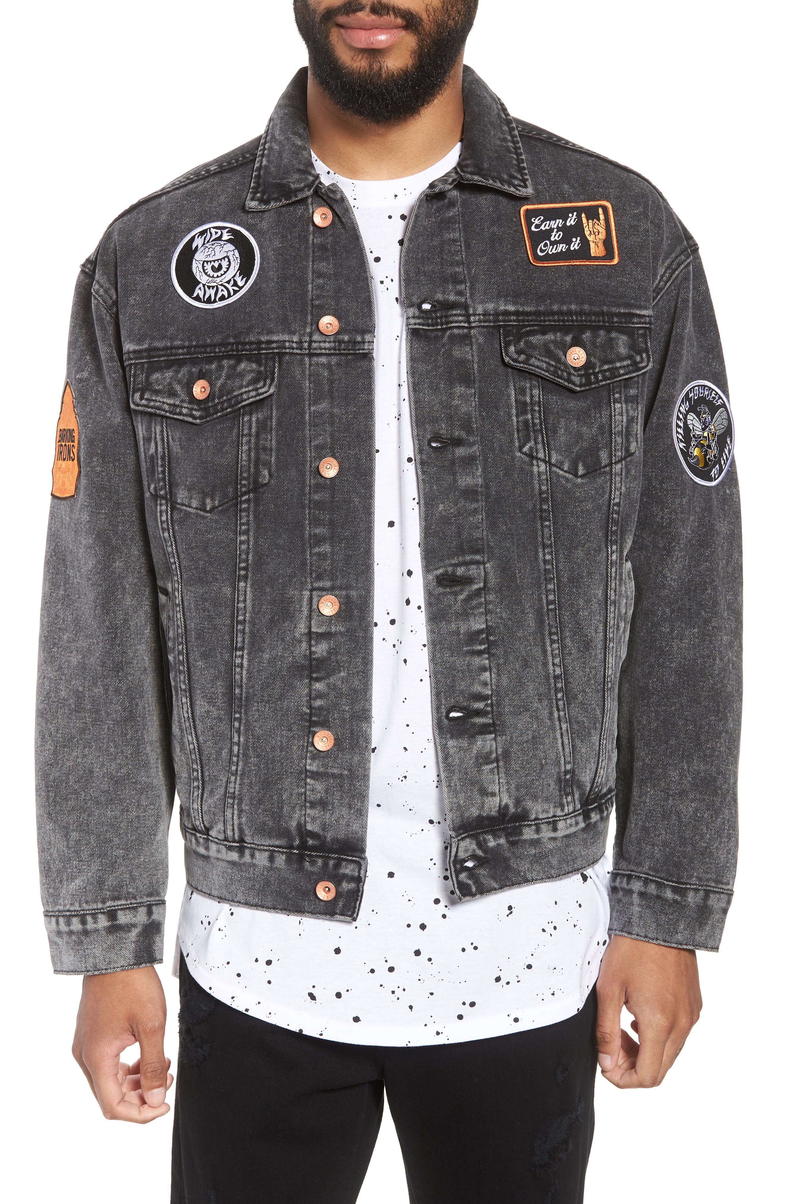On the Bowery Denim Jacket,                             Main thumbnail 1, color,                             Grey Ghost
