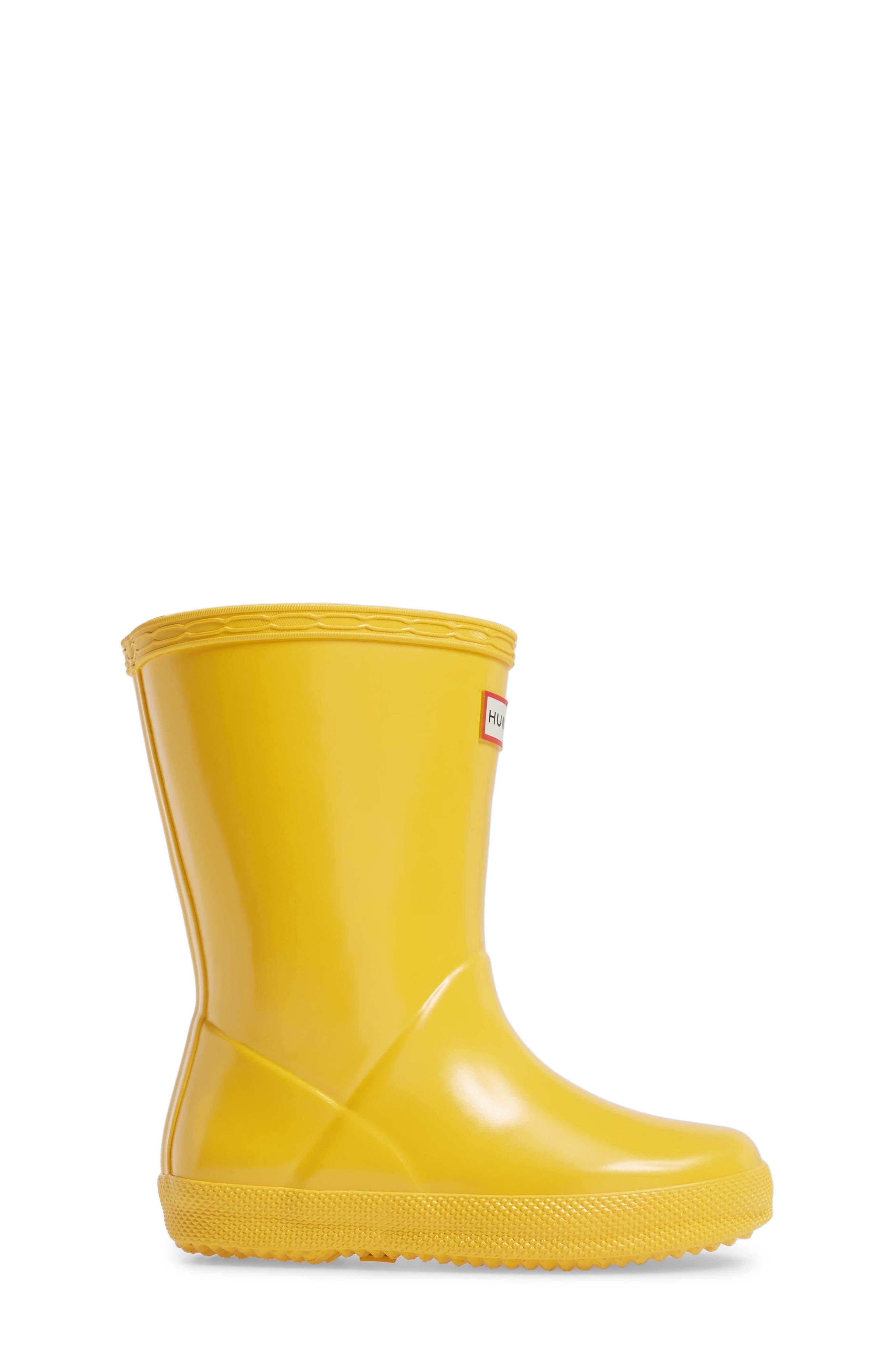 'First Gloss' Rain Boot,                             Alternate thumbnail 3, color,                             Yellow Gloss