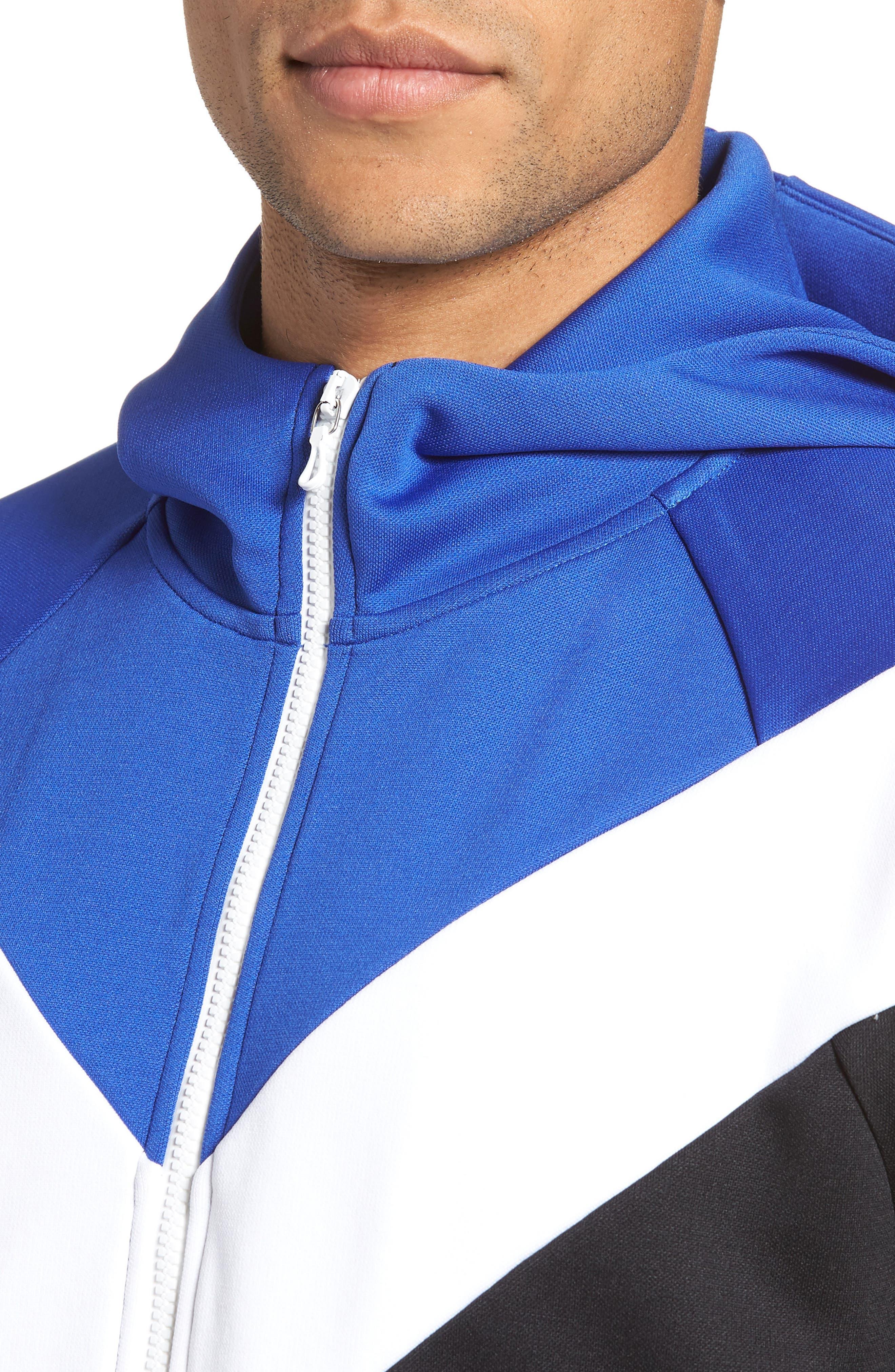 Colorblock Full Zip Hoodie,                             Alternate thumbnail 4, color,                             Blue/ White/ Black