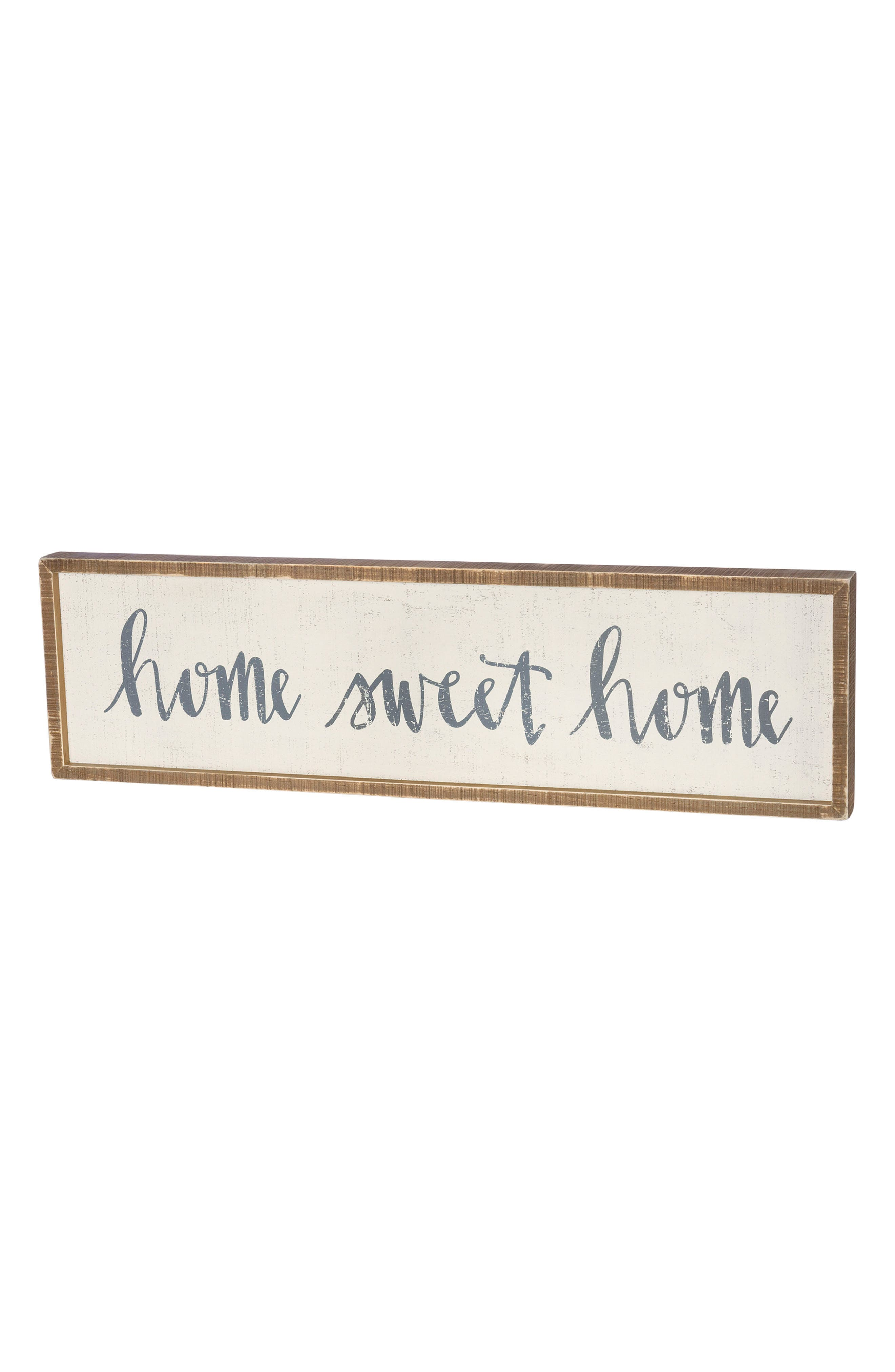 Home Sweet Home Inset Box Sign,                         Main,                         color, White