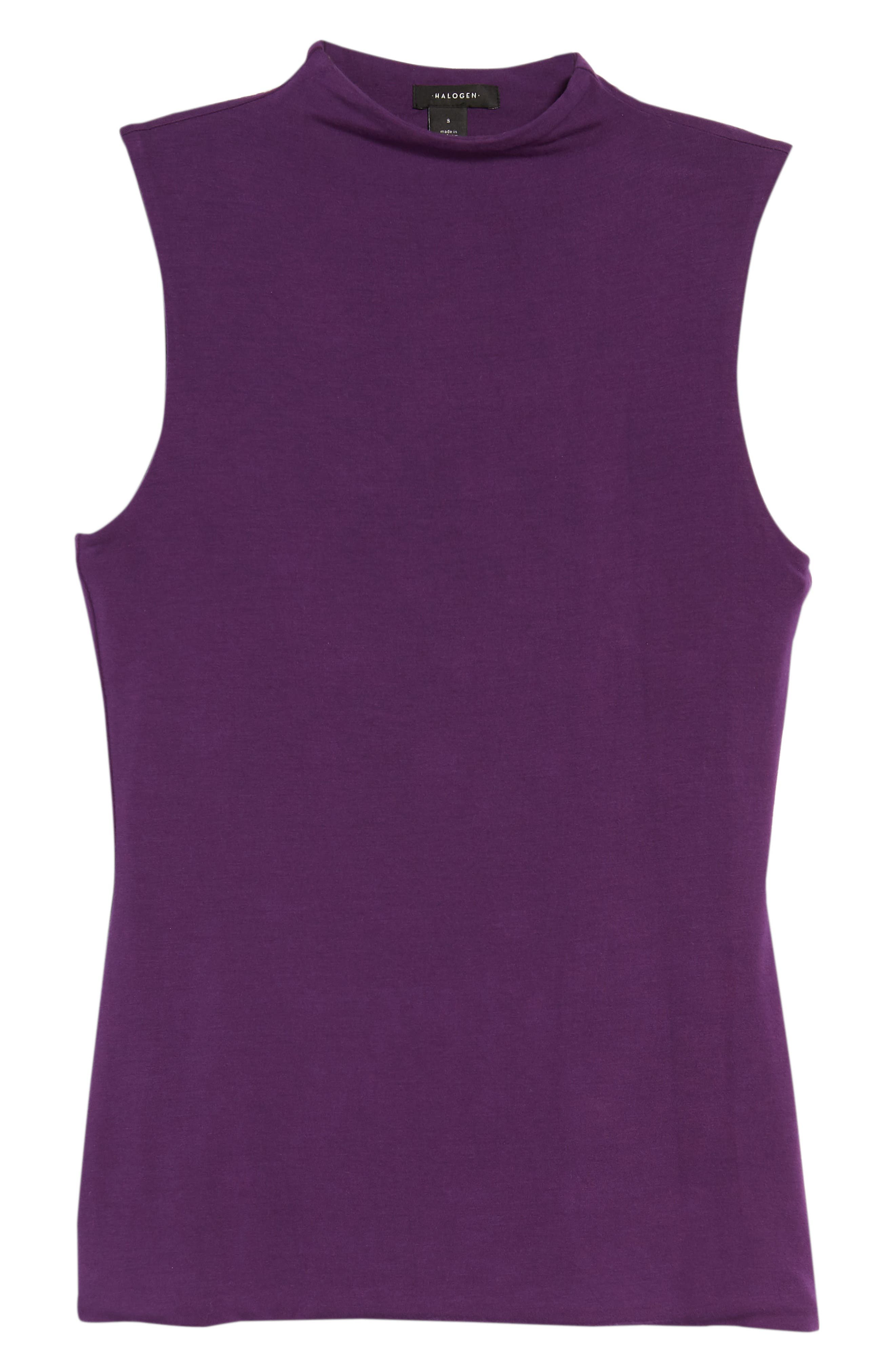 Jersey Funnel Neck Top,                             Alternate thumbnail 6, color,                             Purple Royal