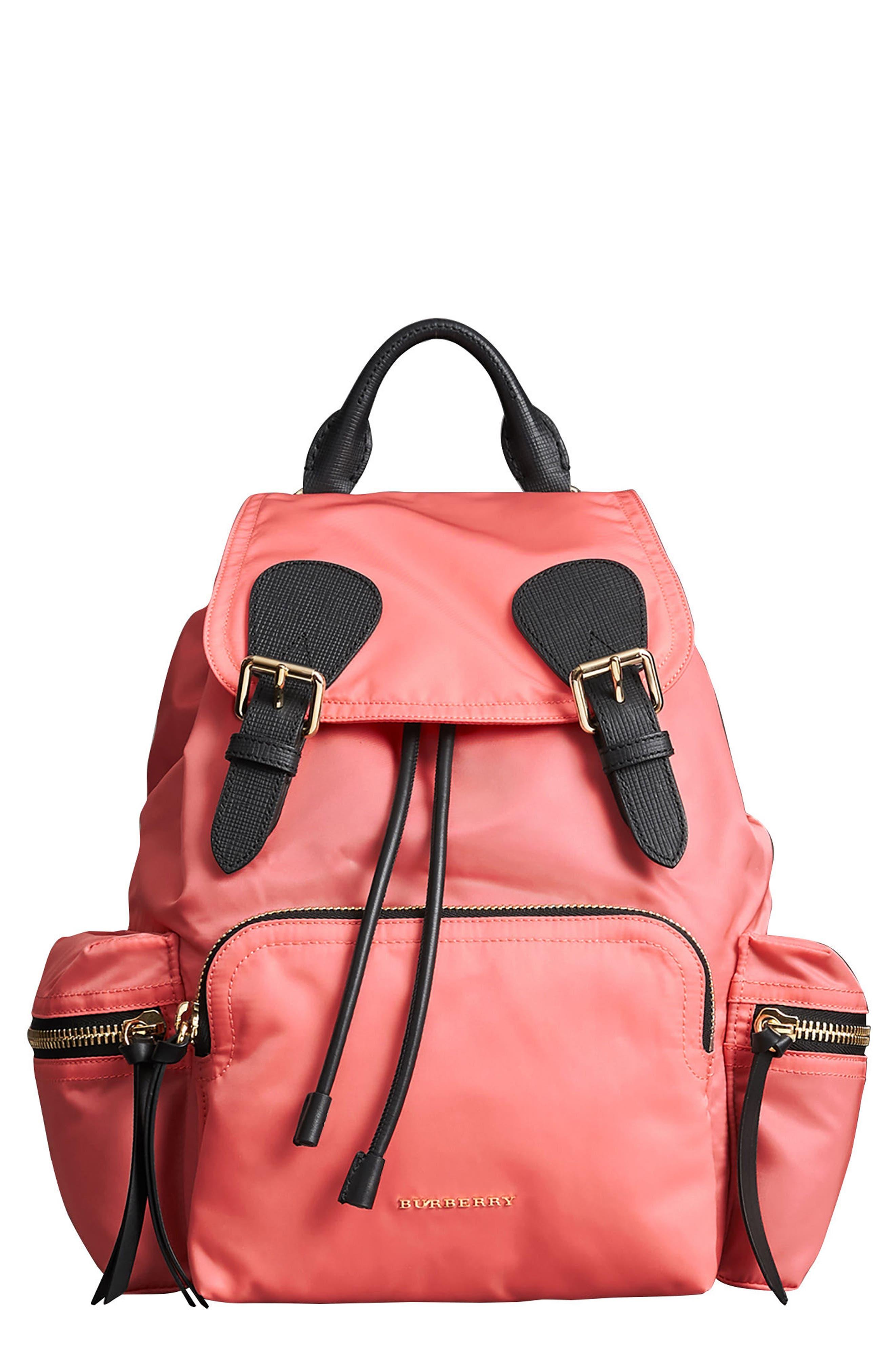 Medium Rucksack Nylon Backpack,                             Main thumbnail 1, color,                             Bright Coral Pink