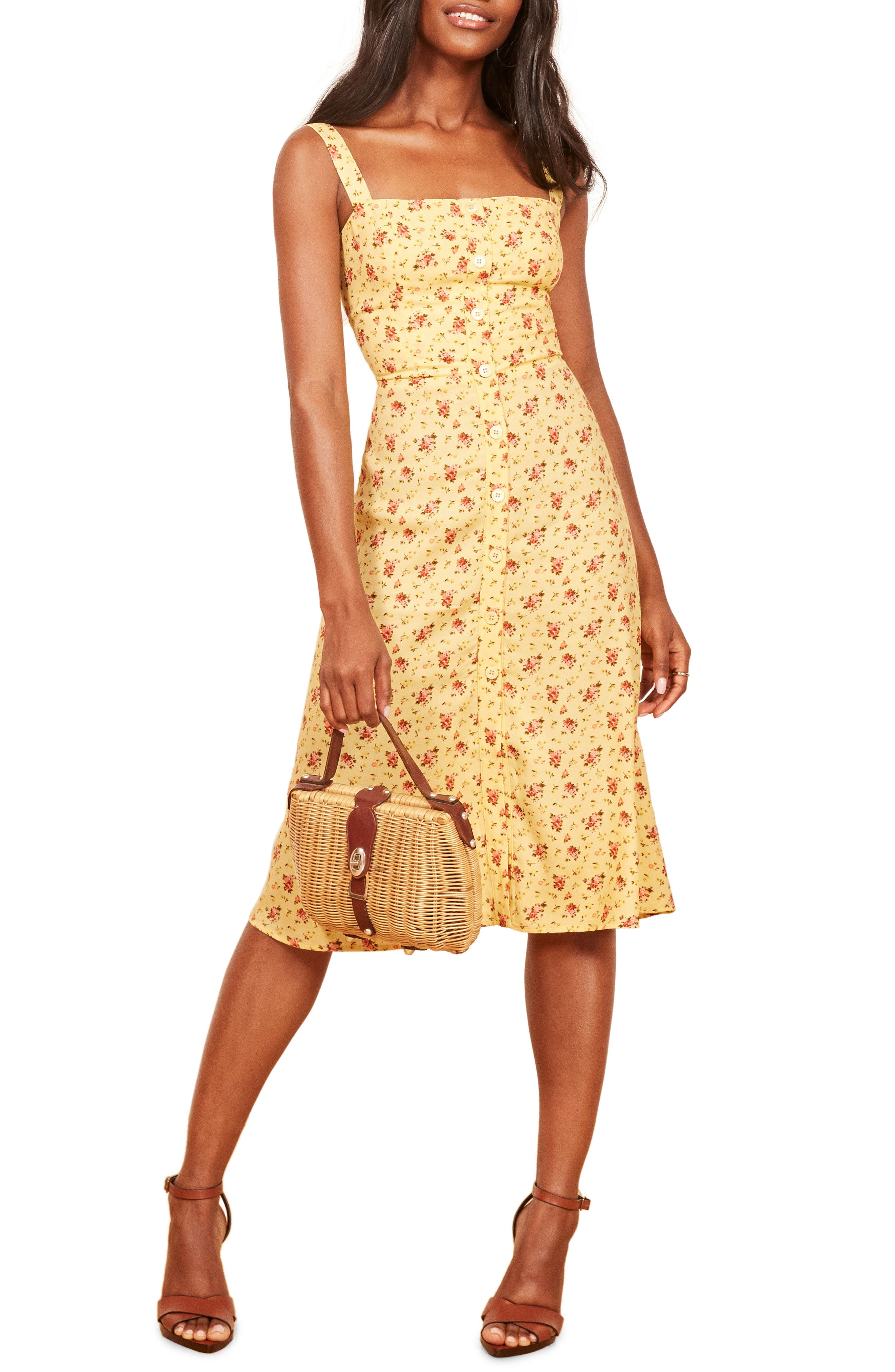 Persimmon Floral Midi A Line Dress by Reformation