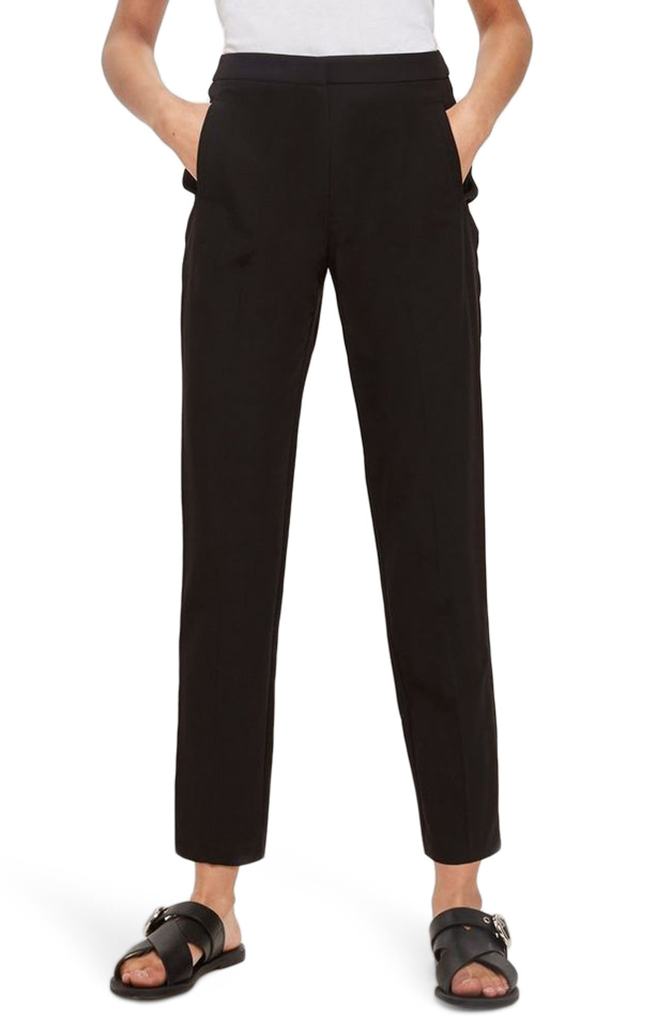 High Waist Cigarette Trousers,                             Main thumbnail 1, color,                             Black