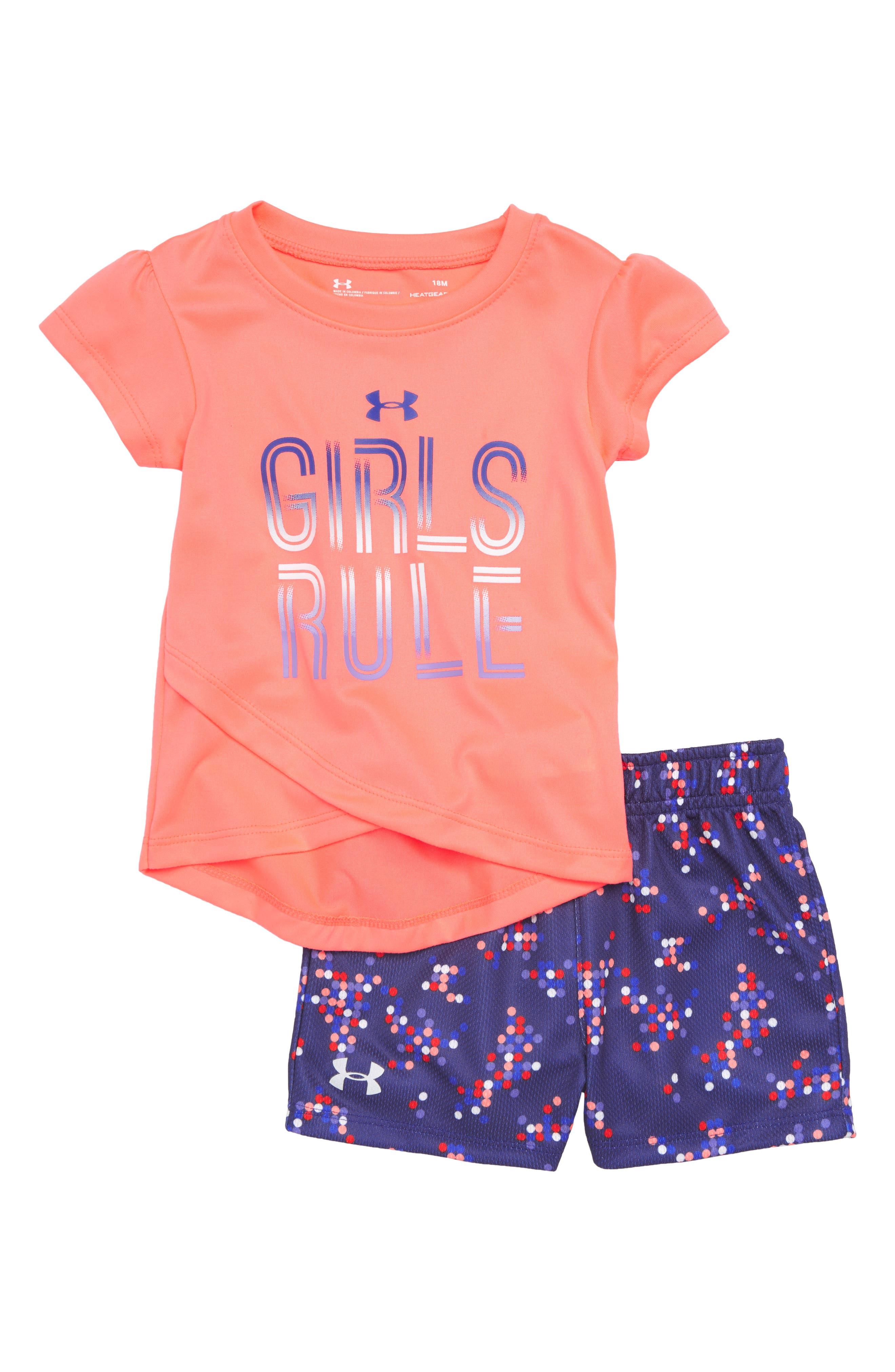 Girls Rule Tee & Shorts Set,                             Main thumbnail 1, color,                             Brillance