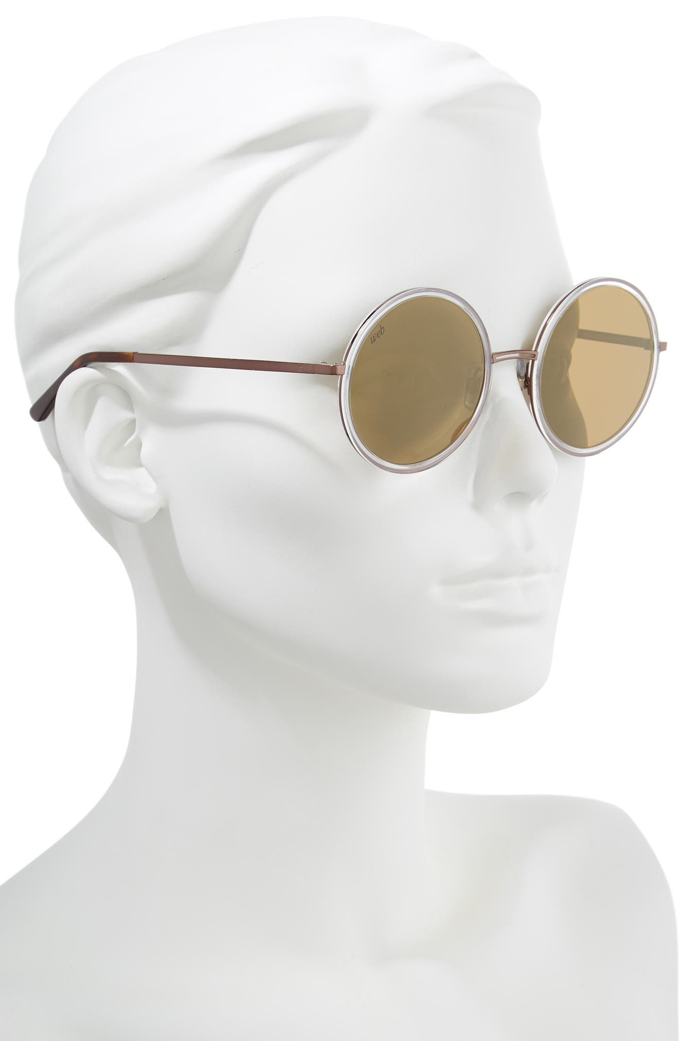 52mm Sunglasses,                             Alternate thumbnail 2, color,                             Crystal/ Brown Mirror