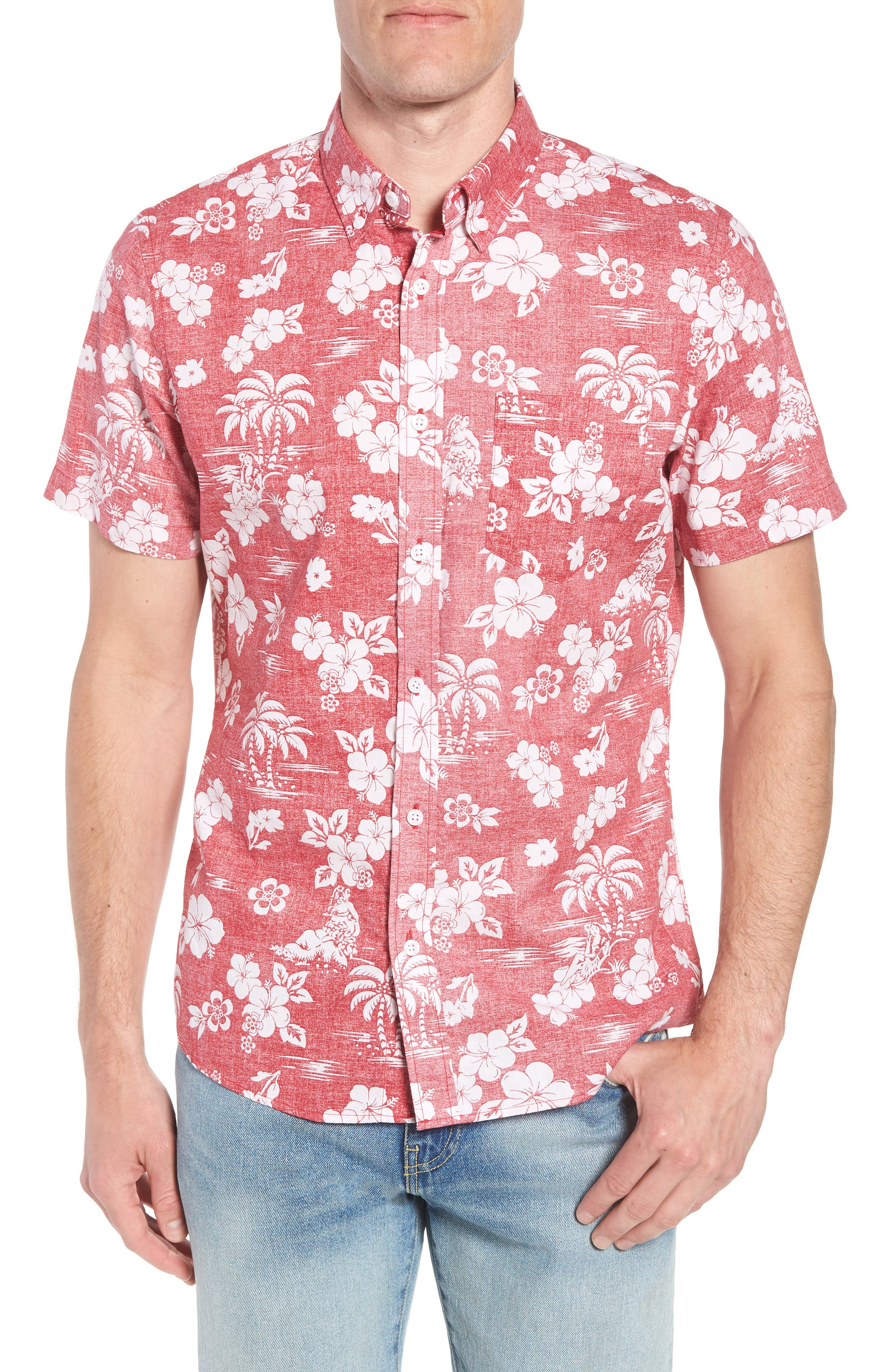 Trim Fit Island Print Sport Shirt,                         Main,                         color, Red Pompeii Hula Girls