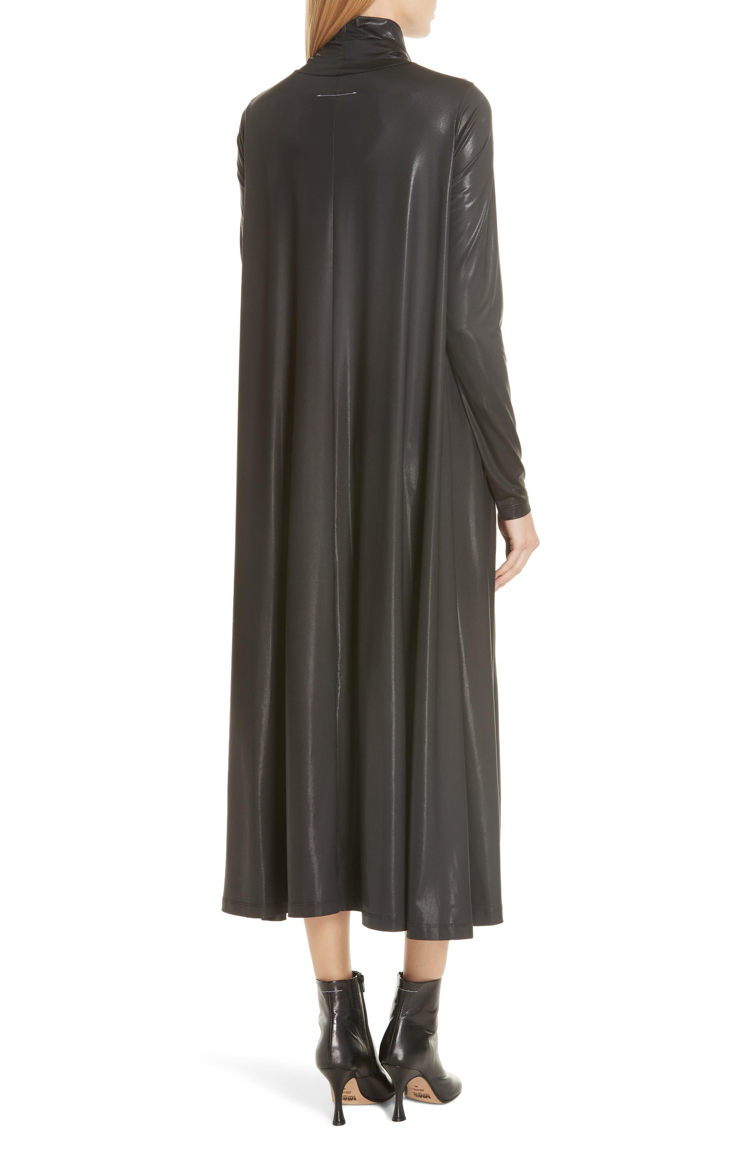 Coated Turtleneck Dress,                             Alternate thumbnail 2, color,                             Black
