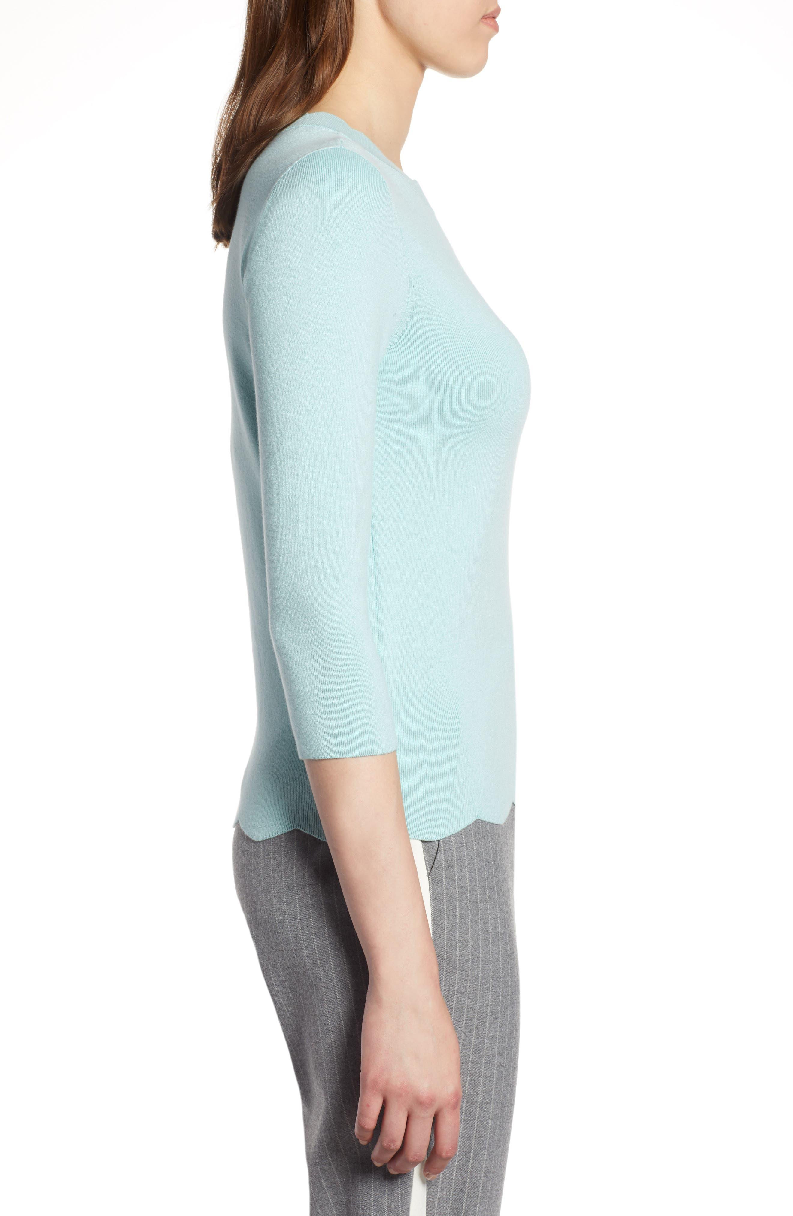 Halogen Scallop Edge Sweater,                             Alternate thumbnail 3, color,                             Blue Resort