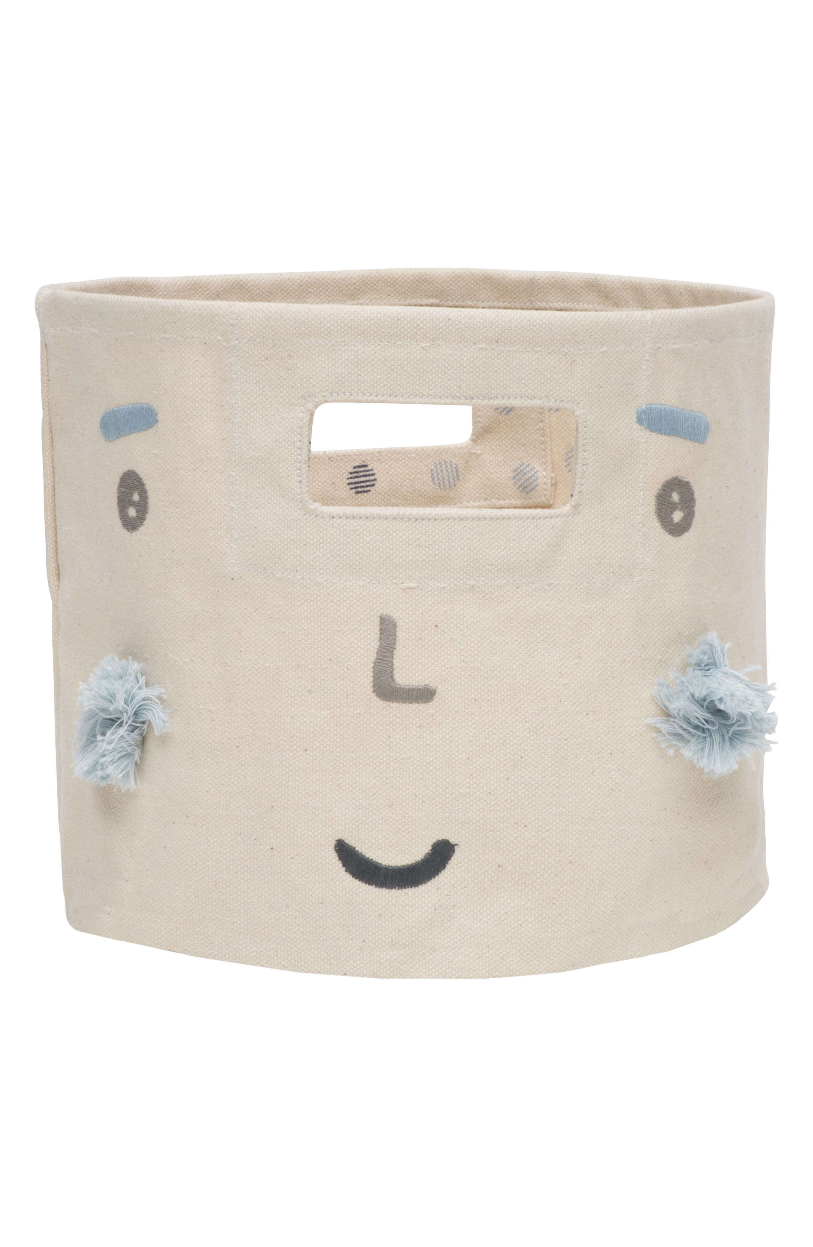Peek-A-Boo Boy Mini Canvas Bin,                             Main thumbnail 1, color,                             Ivory