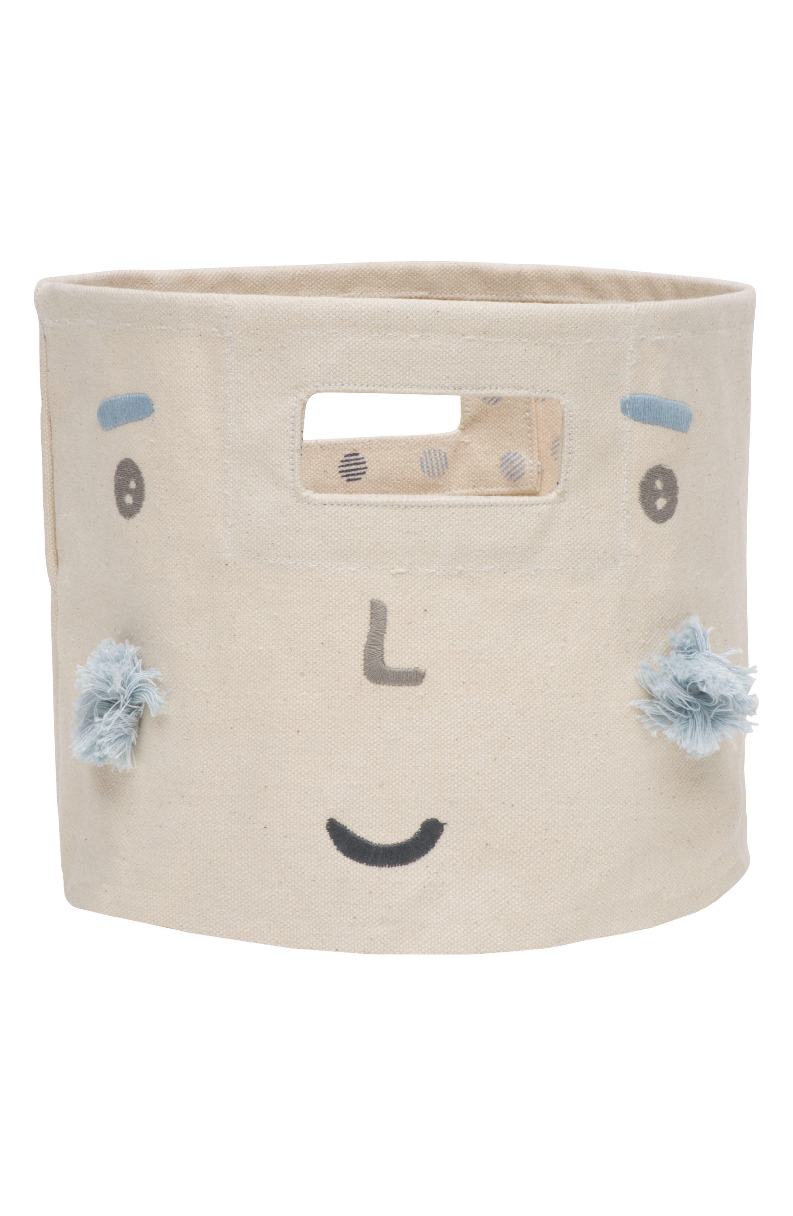 Peek-A-Boo Boy Mini Canvas Bin,                         Main,                         color, Ivory