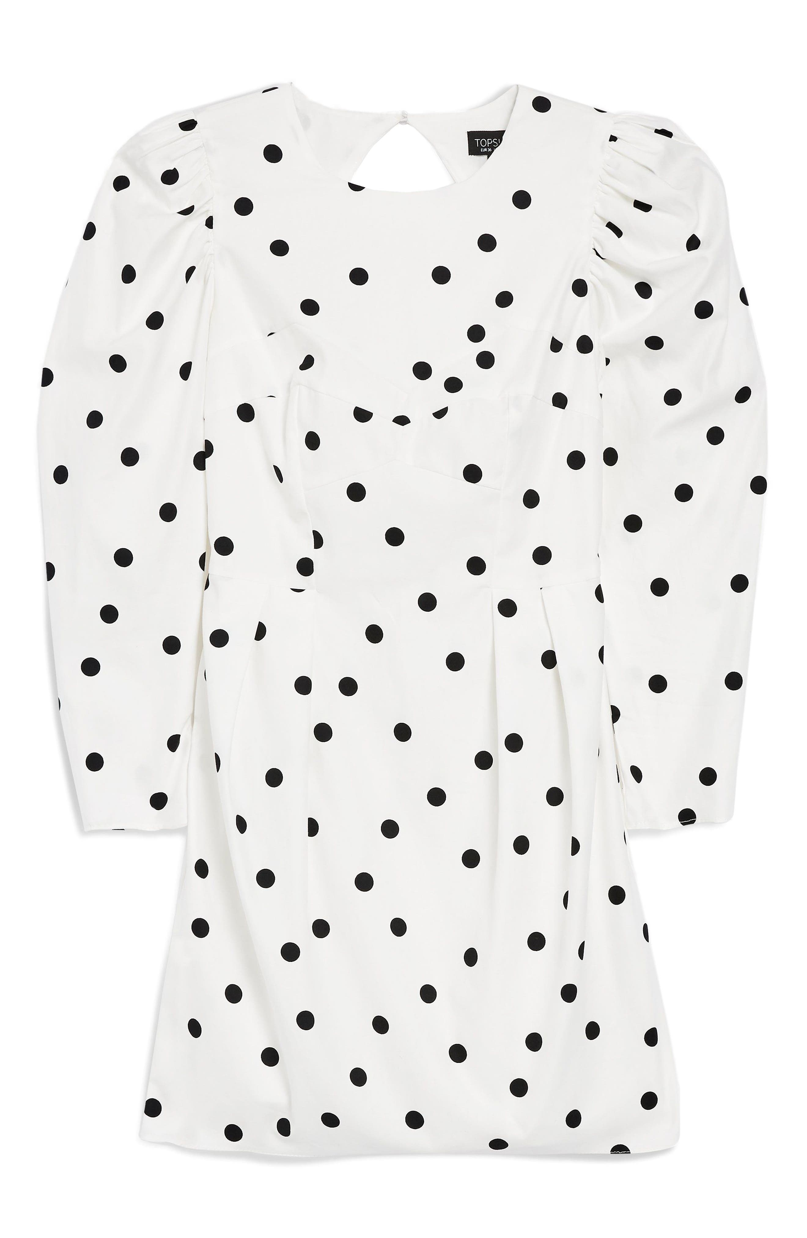 Puff Sleeve Polka Dot Minidress,                             Alternate thumbnail 6, color,                             Ivory Multi