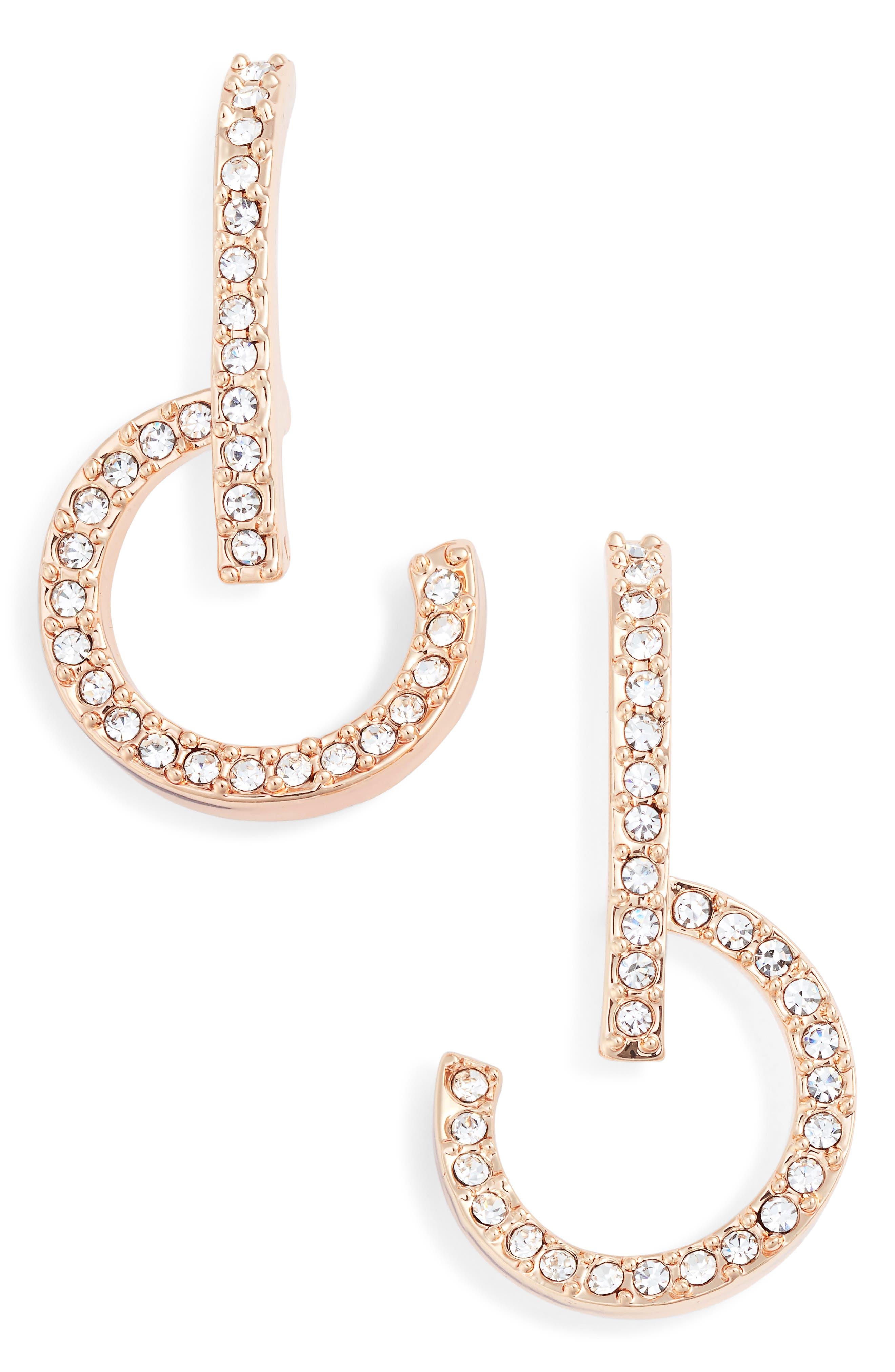 Lobe and Hoop Earrings,                             Main thumbnail 1, color,                             Rose Gold