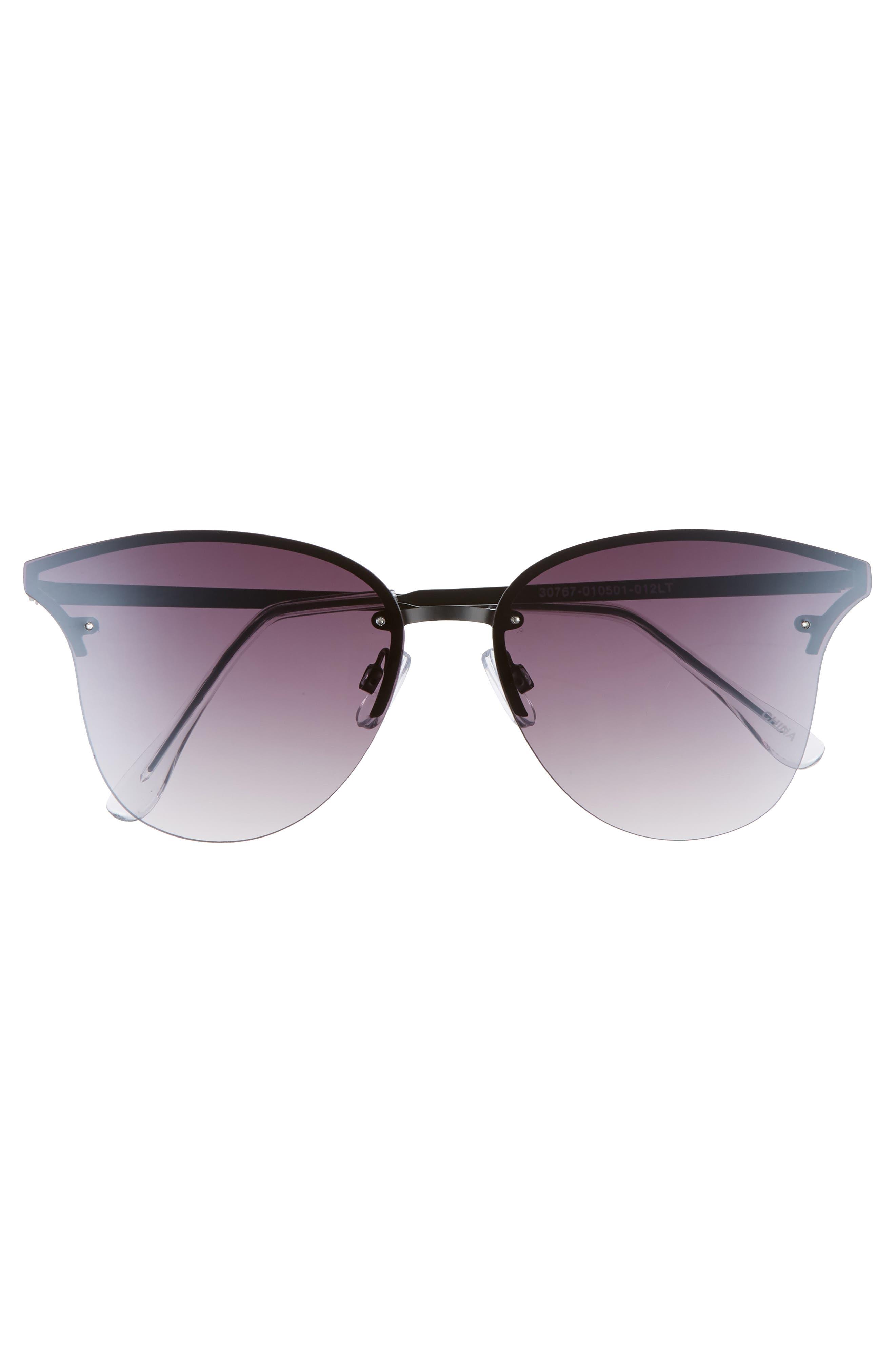 61mm Rimless Cat Eye Sunglasses,                             Alternate thumbnail 3, color,                             Black/ Black