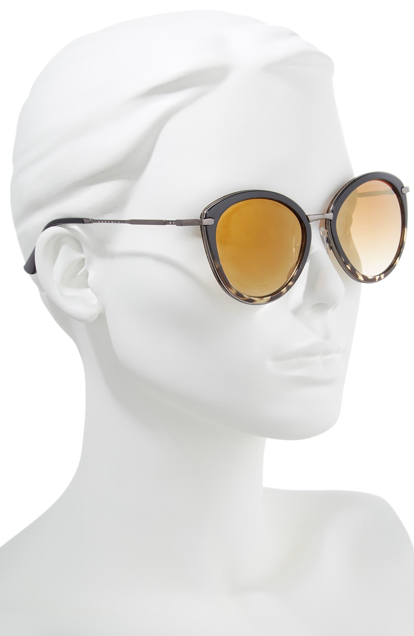 54mm Round Sunglasses,                             Alternate thumbnail 2, color,                             Black/ Tort