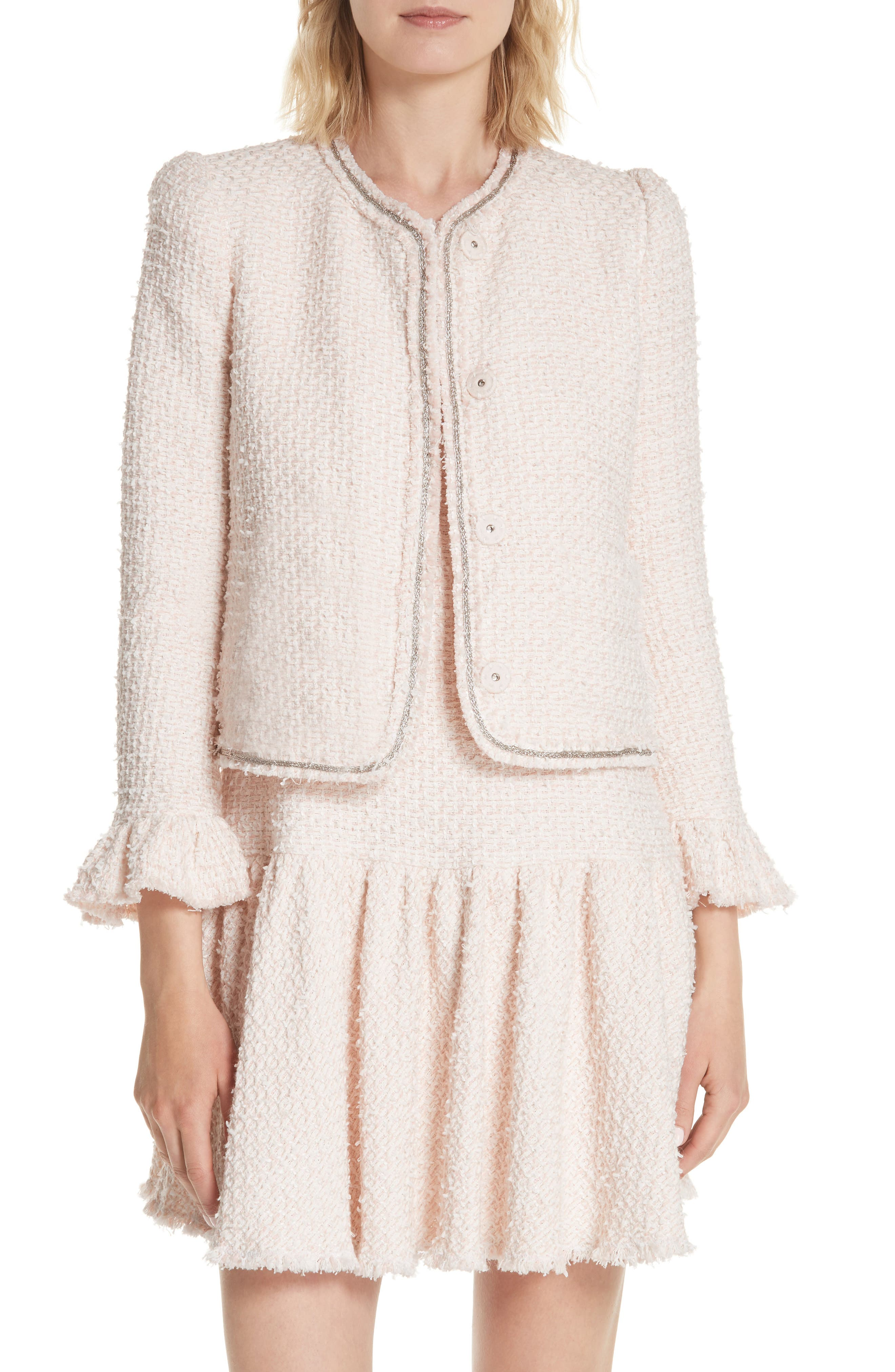 Ruffle Sleeve Tweed Jacket,                         Main,                         color, Powder Pink Combo