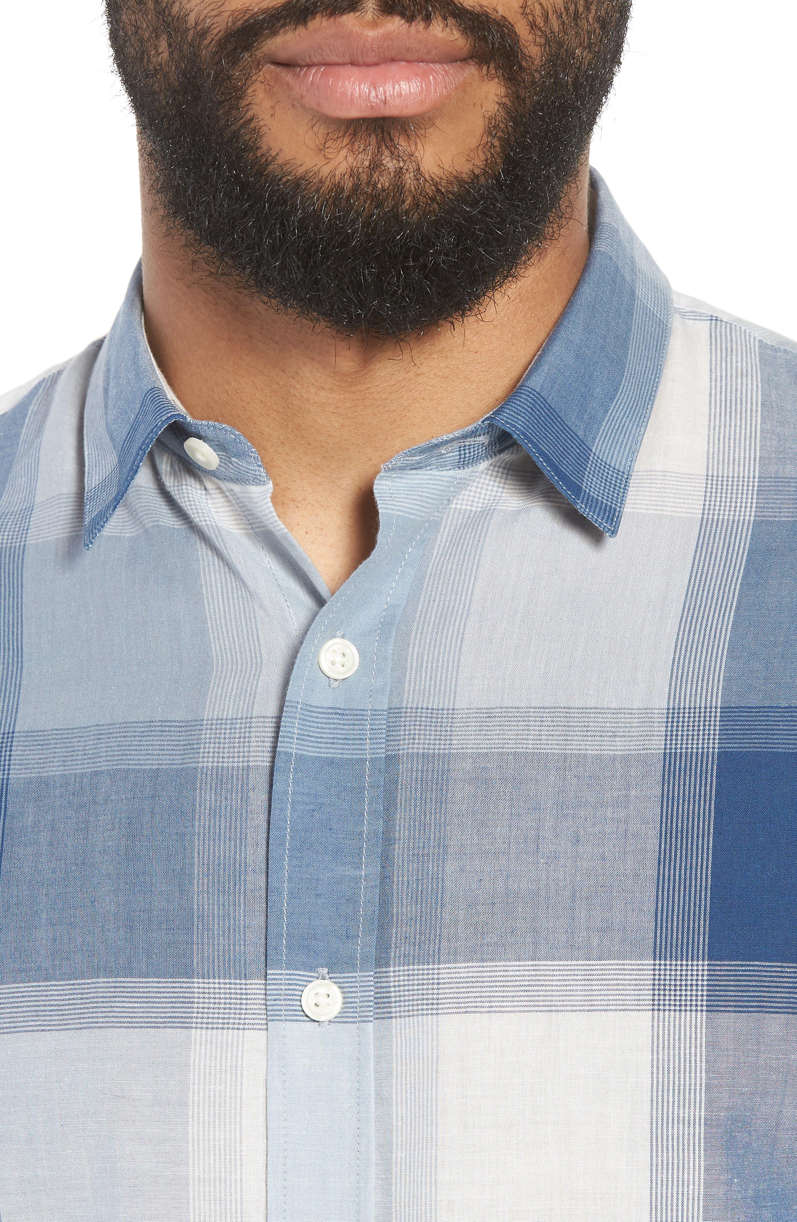 Classic Fit Plaid Sport Shirt,                             Alternate thumbnail 2, color,                             Ocean