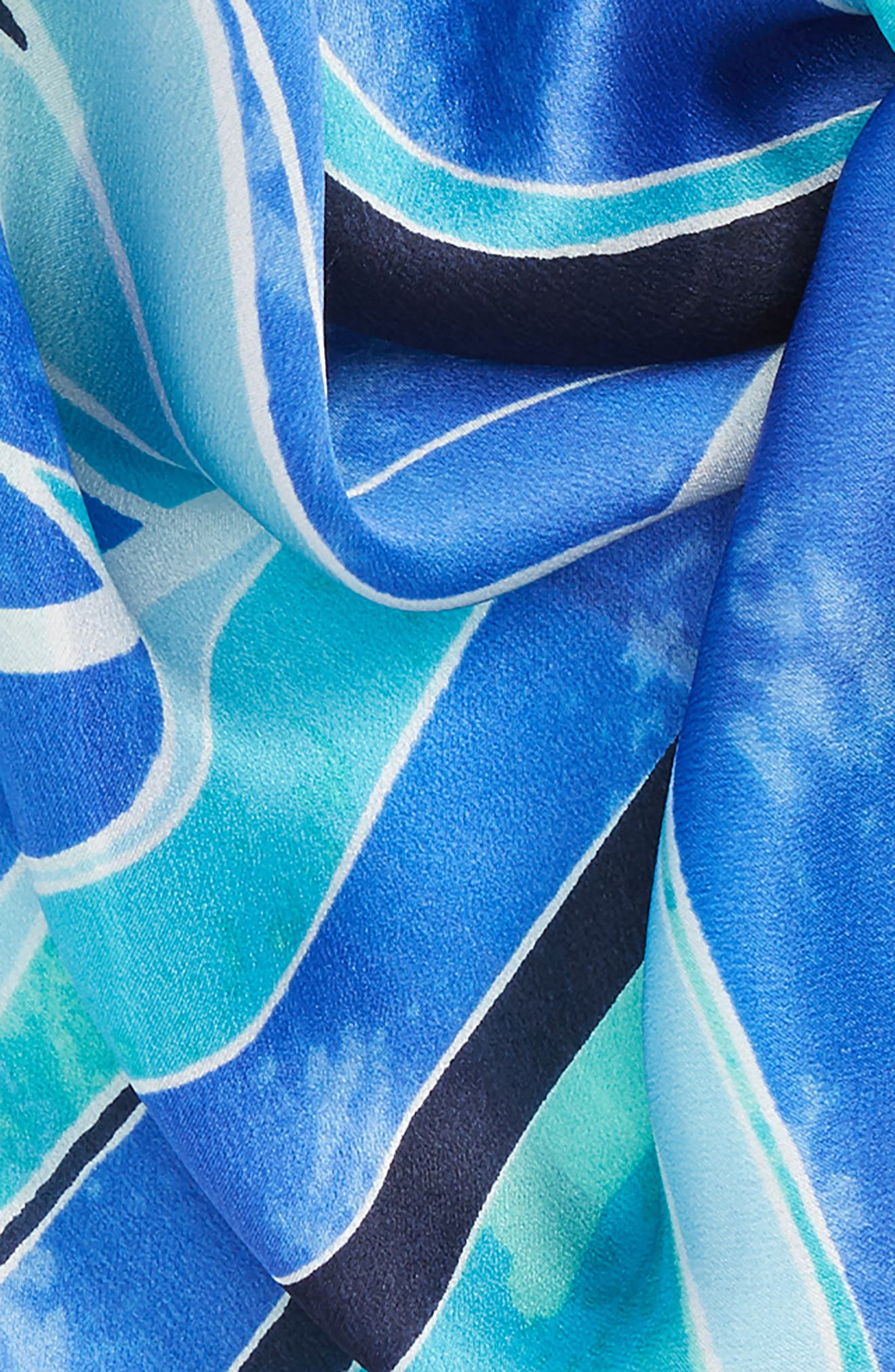 Print Silk Scarf,                             Alternate thumbnail 3, color,                             Blue Stained Palm