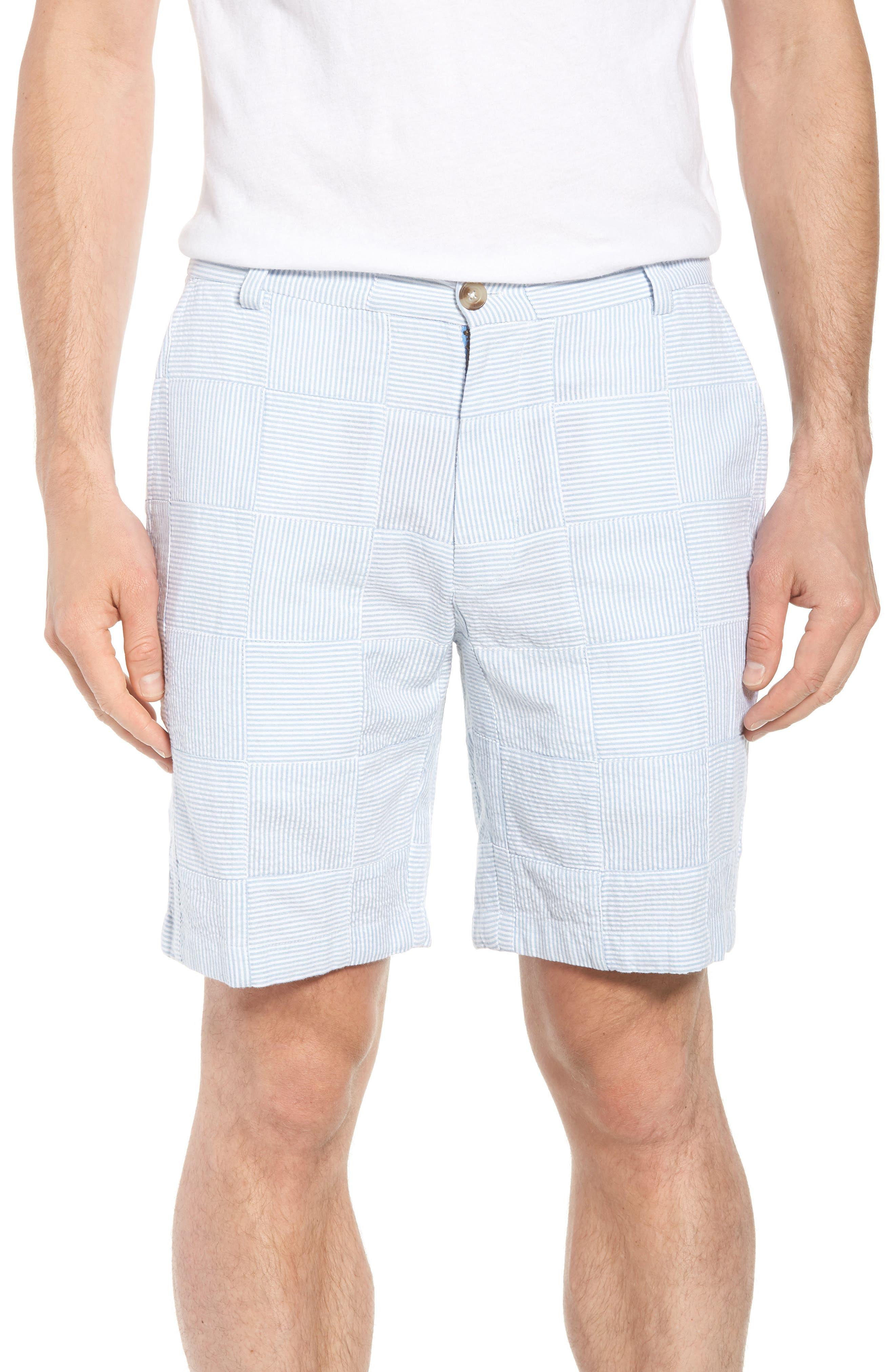 Patchwork Seersucker Breaker Shorts,                             Main thumbnail 1, color,                             Ocean Breeze