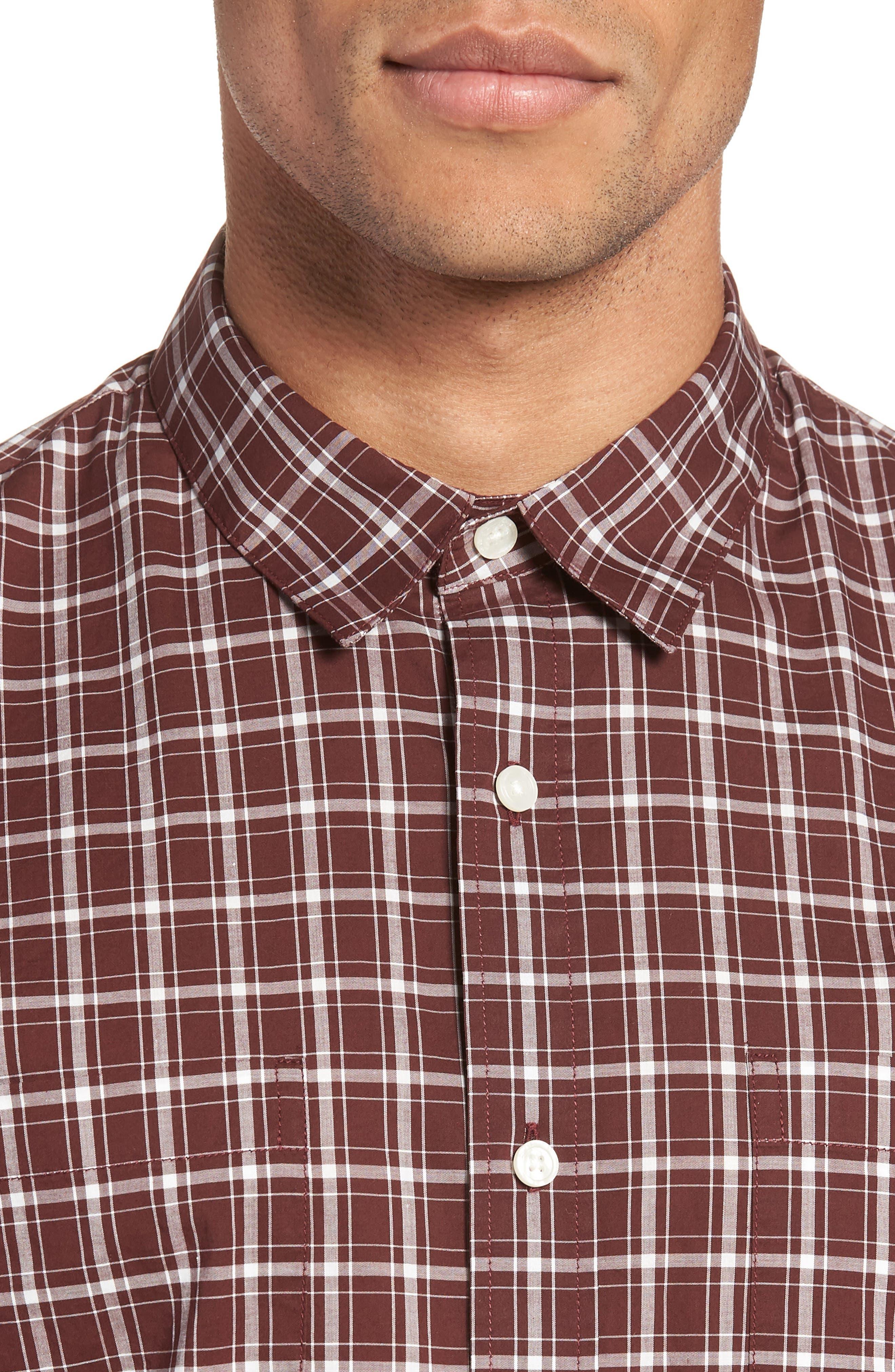 Classic Fit Plaid Sport Shirt,                             Alternate thumbnail 4, color,                             Black Cherry