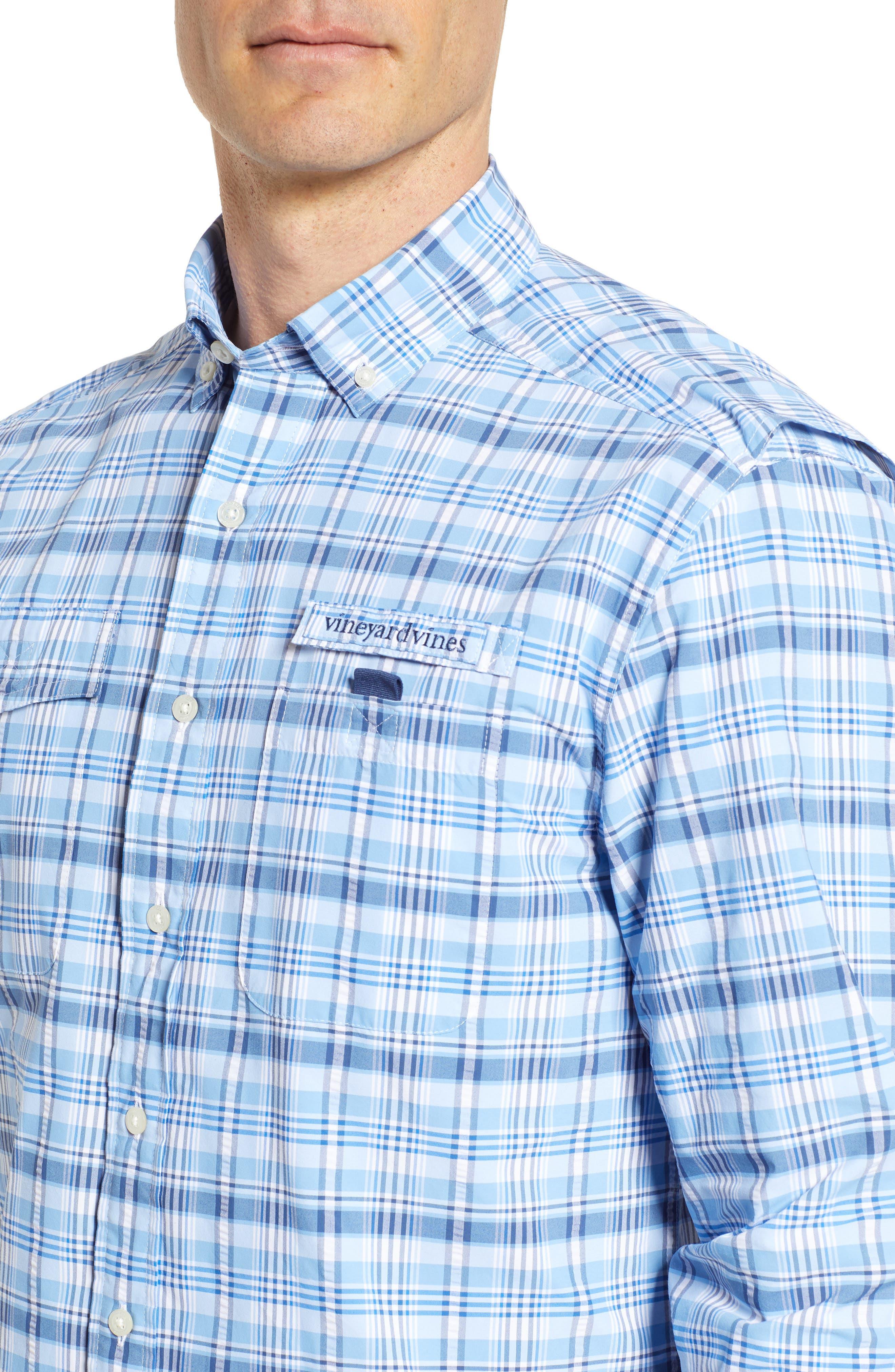 Prospect Hill Harbor Regular Fit Plaid Performance Sport Shirt,                             Alternate thumbnail 2, color,                             Ocean Breeze