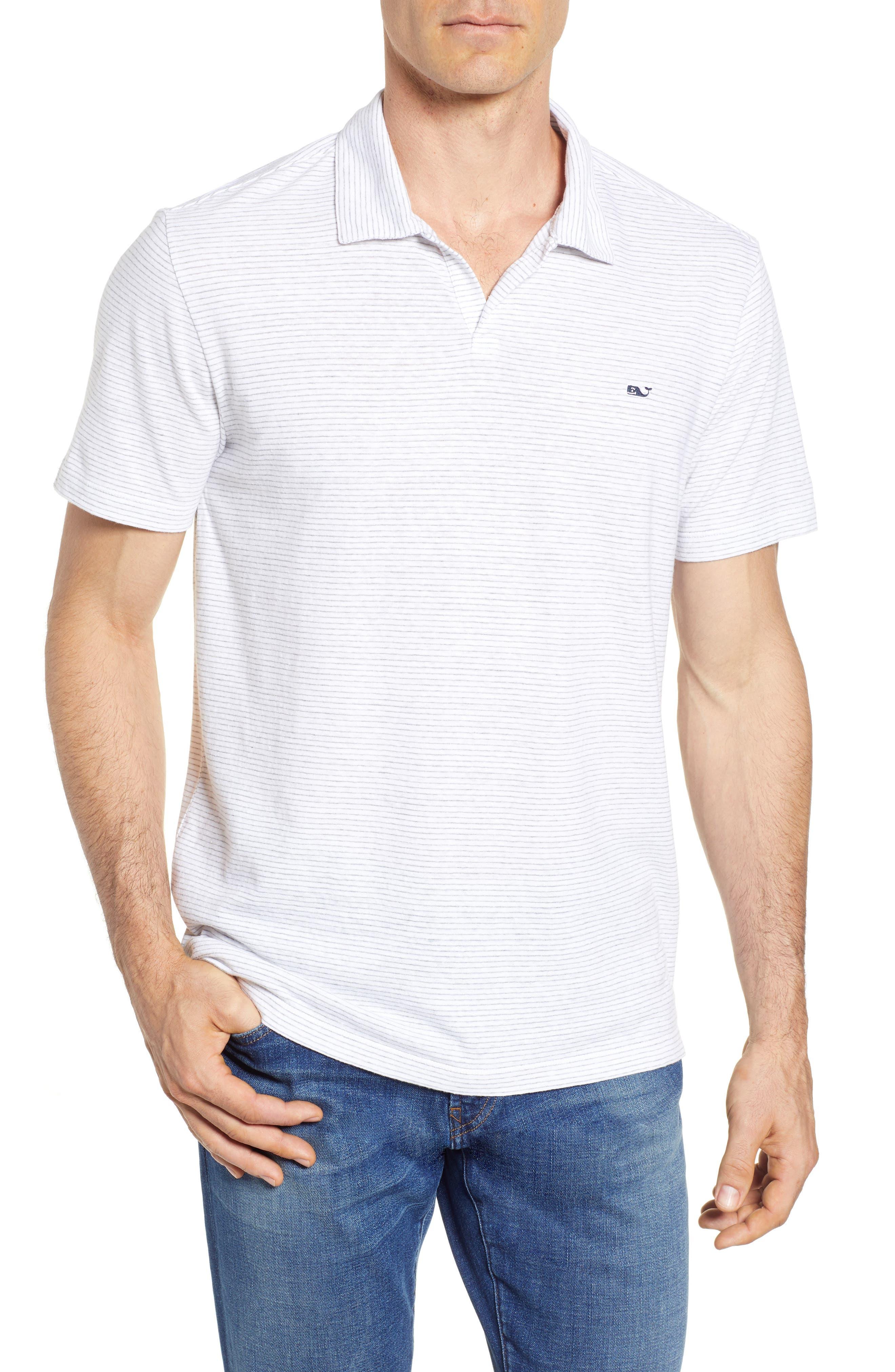 Stripe Linen & Cotton Polo,                         Main,                         color, White Cap