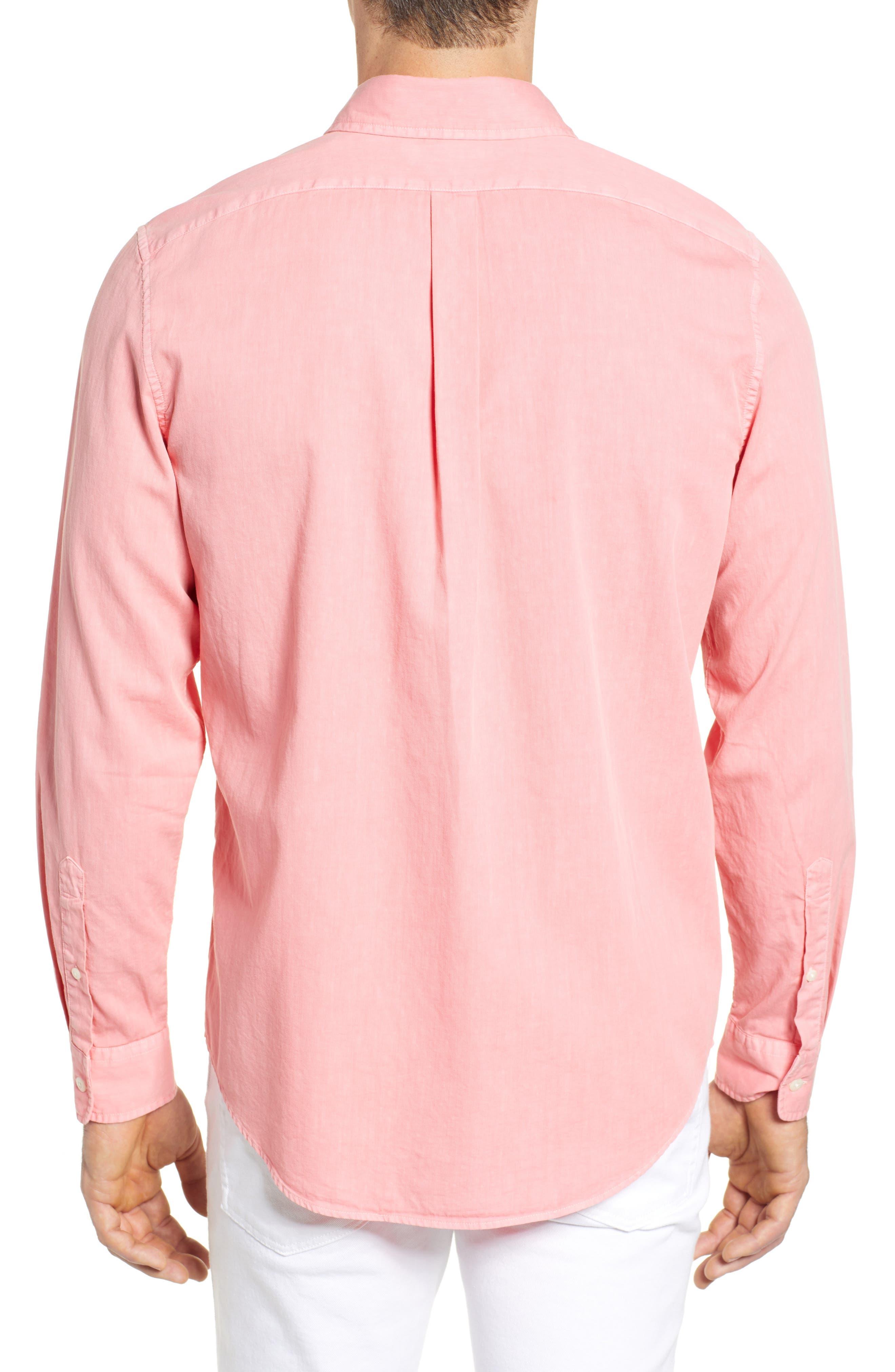 Tucker Slim Fit Solid Cotton & Silk Sport Shirt,                             Alternate thumbnail 3, color,                             Strawberry Blonde