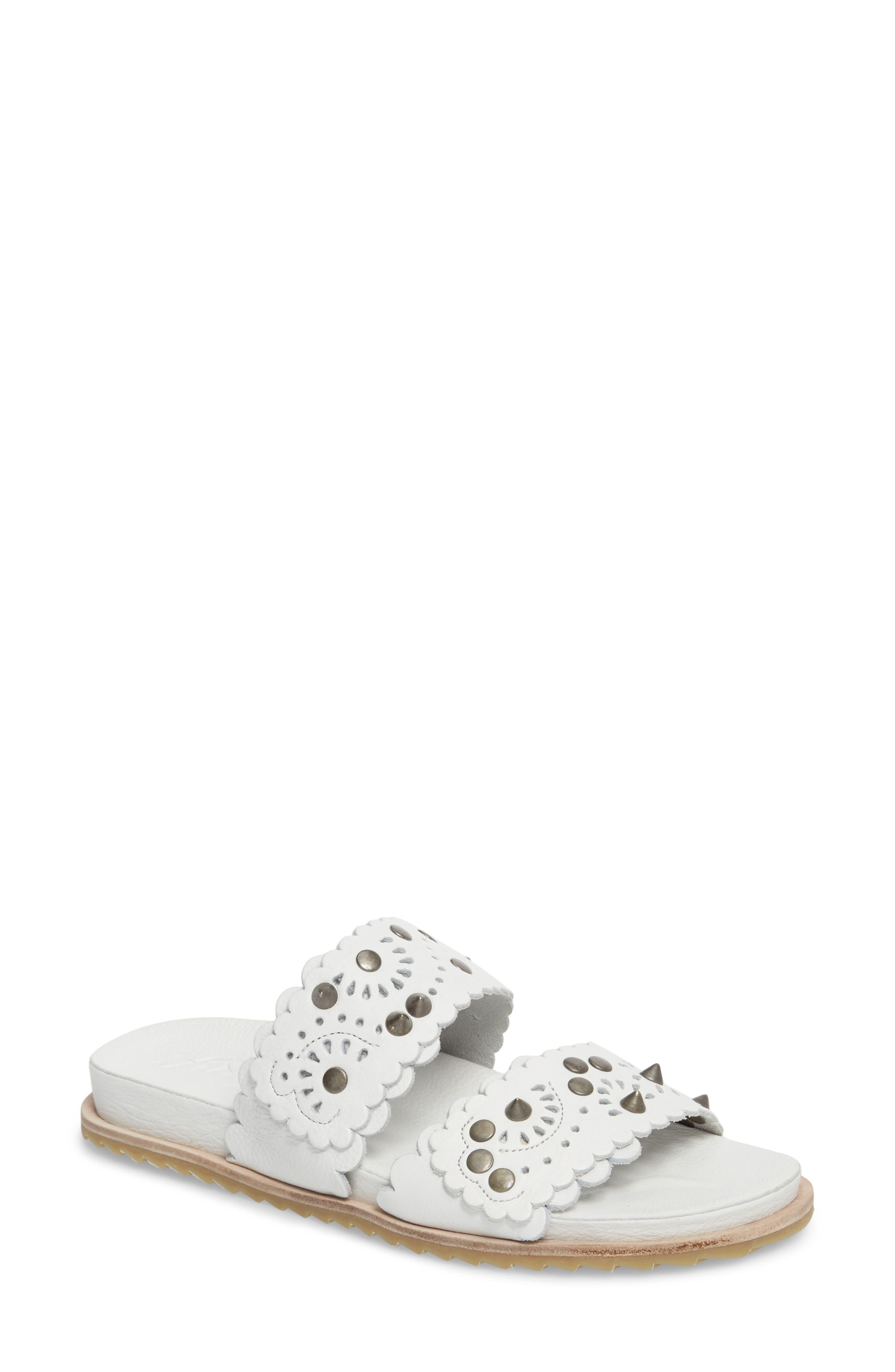Spellbound Embellished Slide Sandal,                             Main thumbnail 1, color,                             White