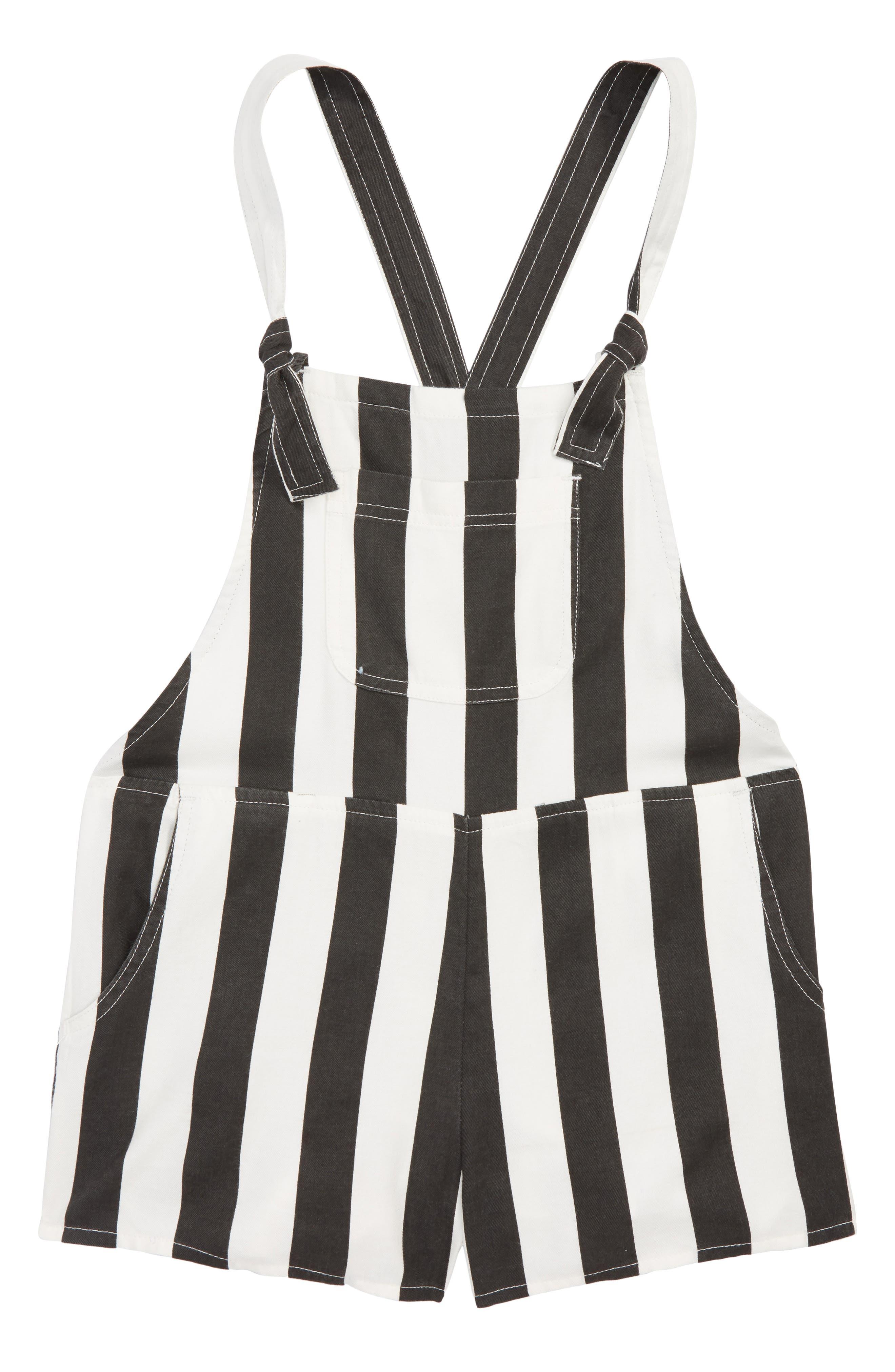Roamin Stripe Short Overalls,                             Main thumbnail 1, color,                             Black